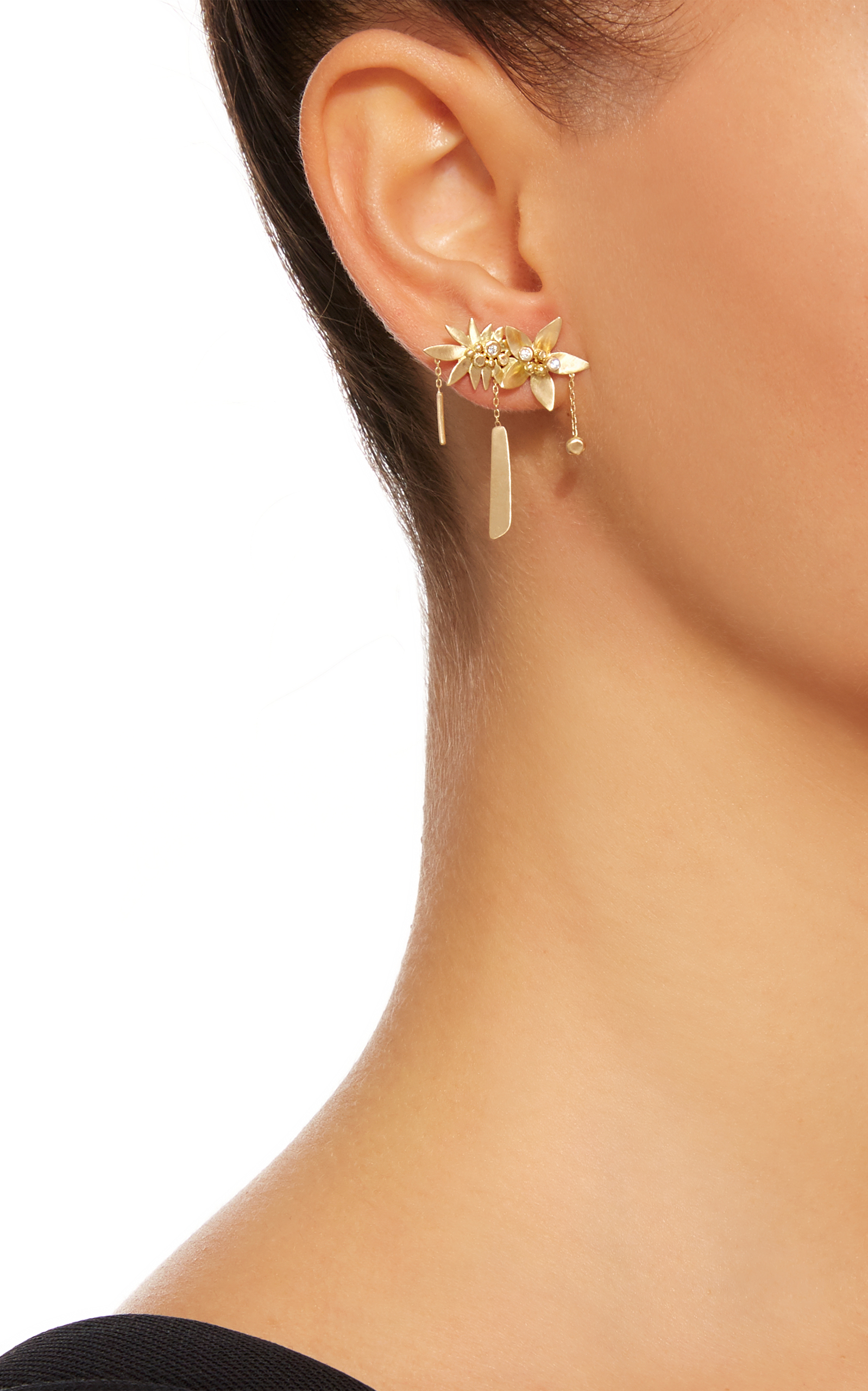 earring metallic faux chloe chlo lyst gold pearl s in women jewelry earrings single darcey