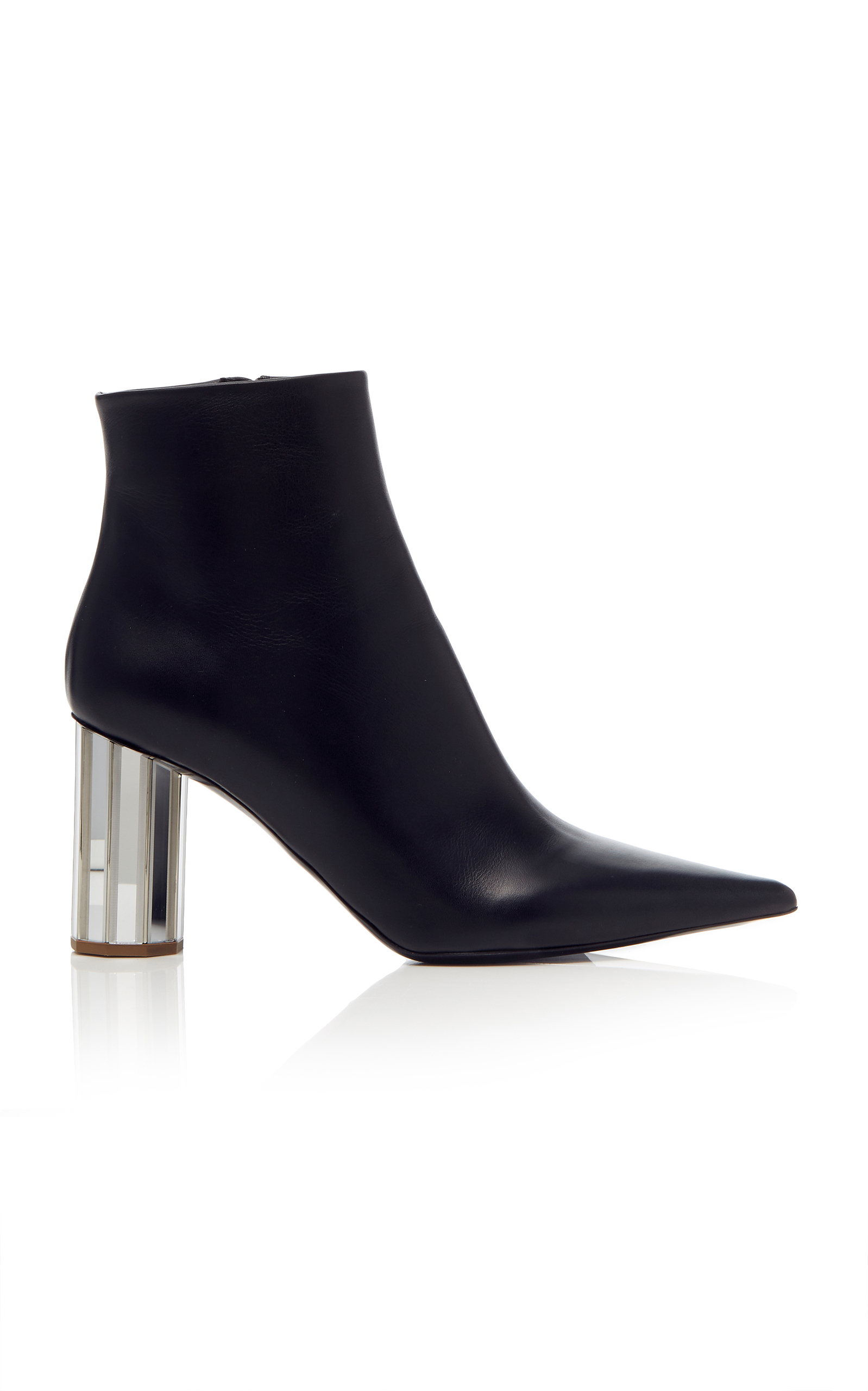 Mirrored-Heel Leather Ankle Boots - Black Size 7