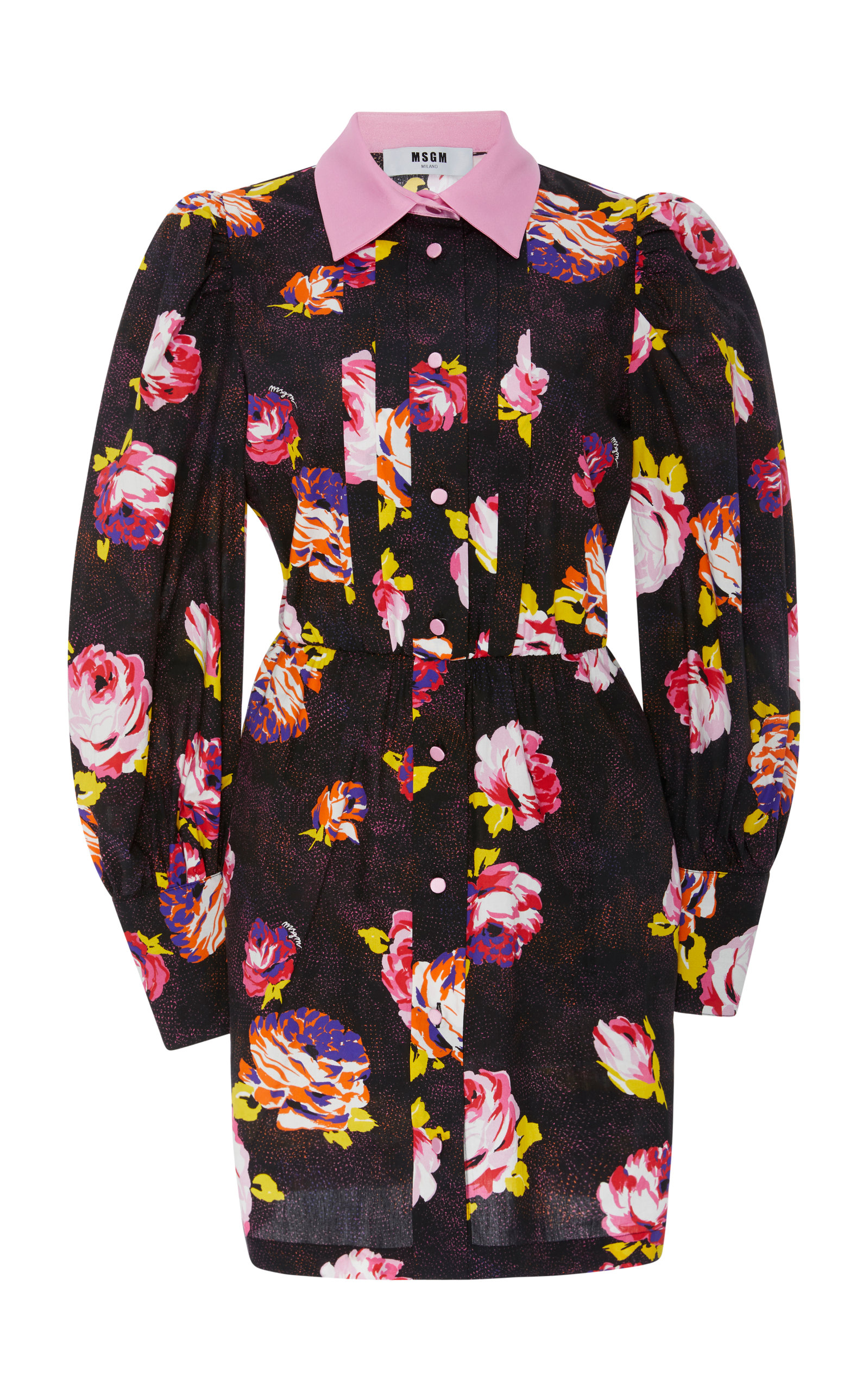 Imprimé Floral Bouton-up Mini Robe Msgm 4Pf6OmLn