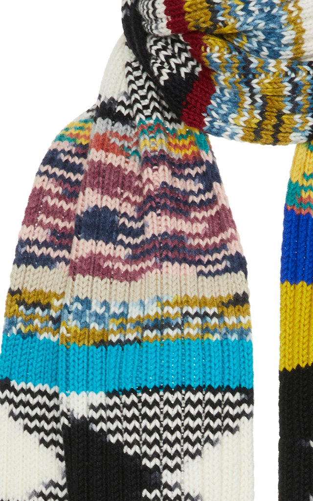 Fringed Crochet-Knit Cashmere Scarf Missoni aQy2N