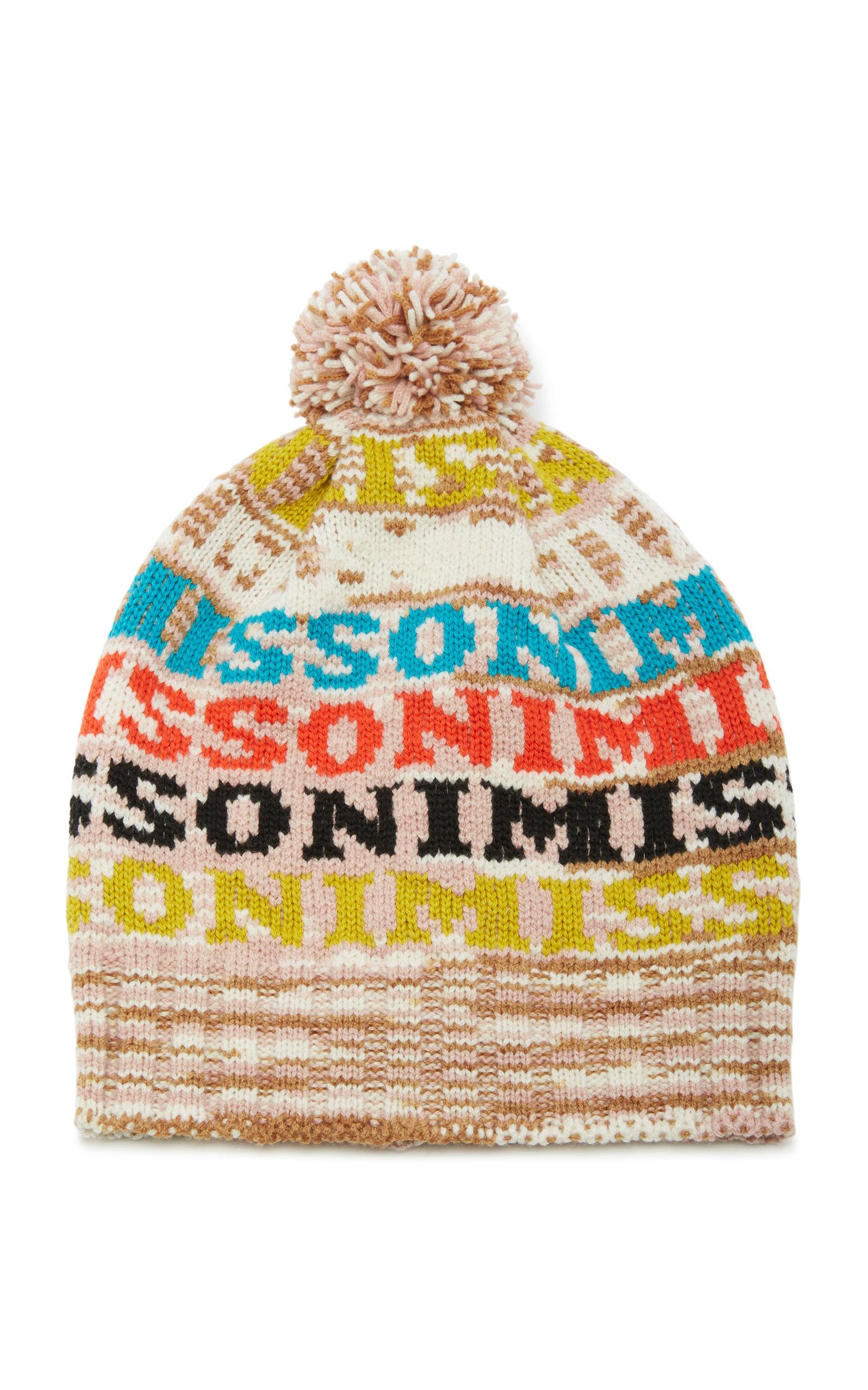 Pom Pom-Embellished Intarsia Wool-Blend Beanie, Brown