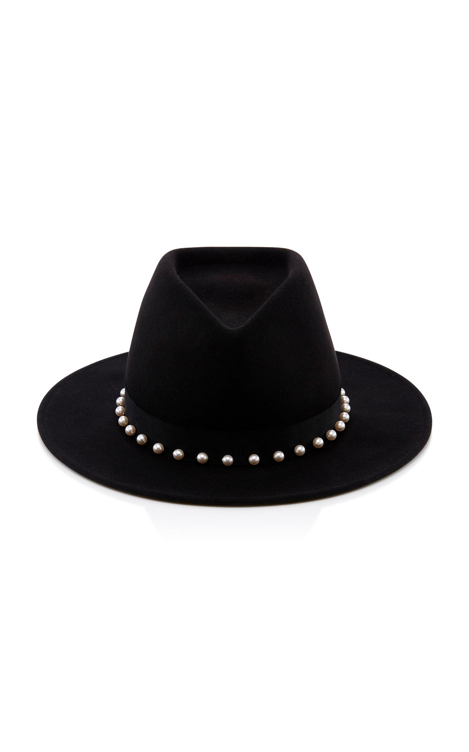 Blaine Peal Embellished Black Wool Felt Fedora