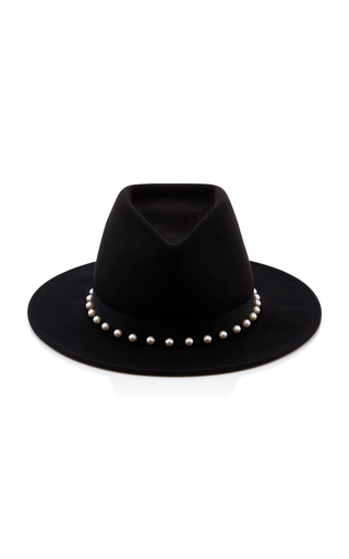 Blaine Peal Embellished Black Wool Felt Fedora Eugenia Kim jGWDCV