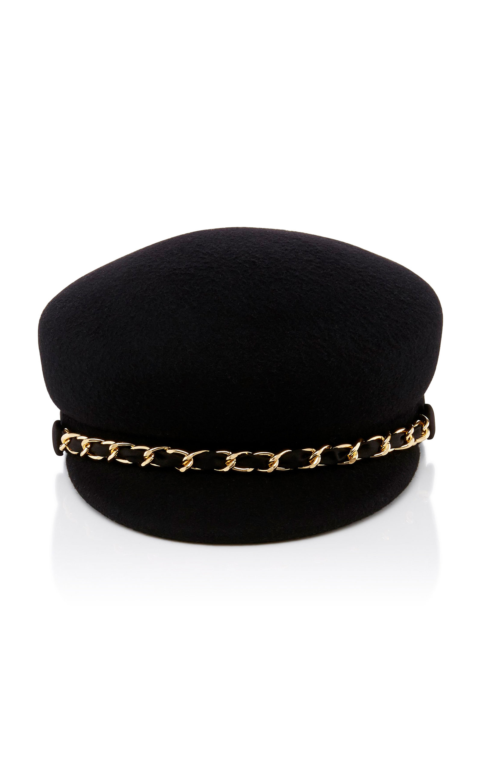 Sabrina Gold Chain Black Wool Felt Cap Eugenia Kim