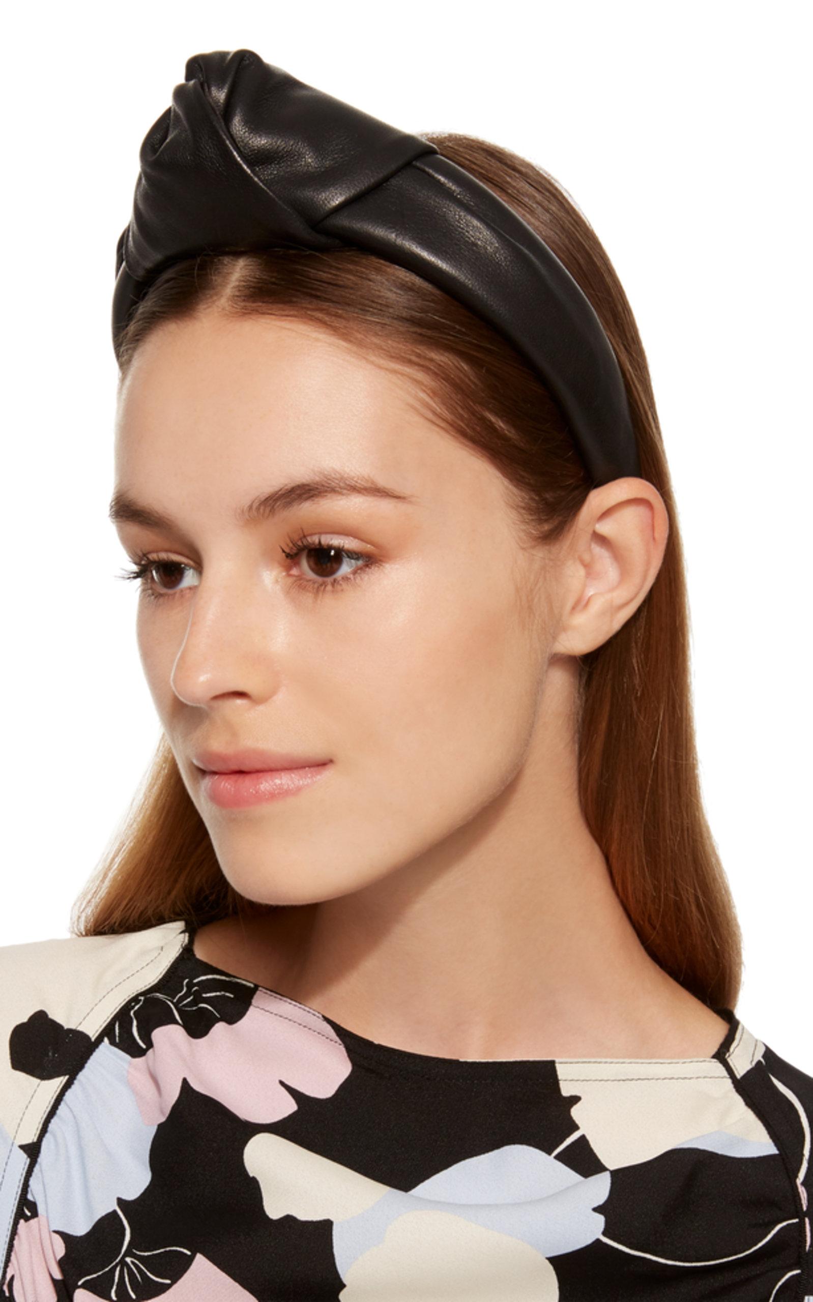 Maryn Top Knot Black Leather Headband by Eugenia Kim  4eab66fd945