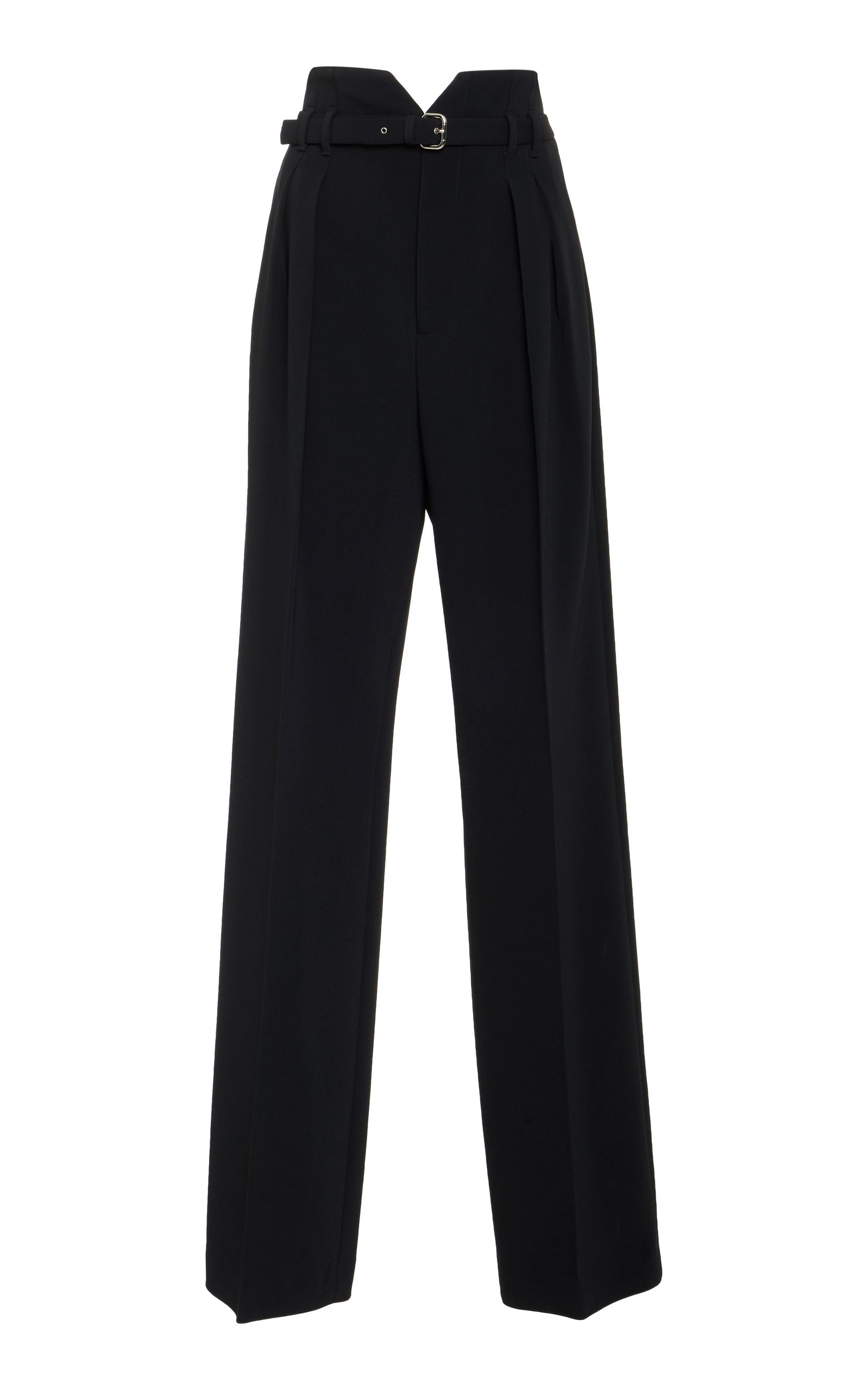 High-rise straight-leg crepe trousers