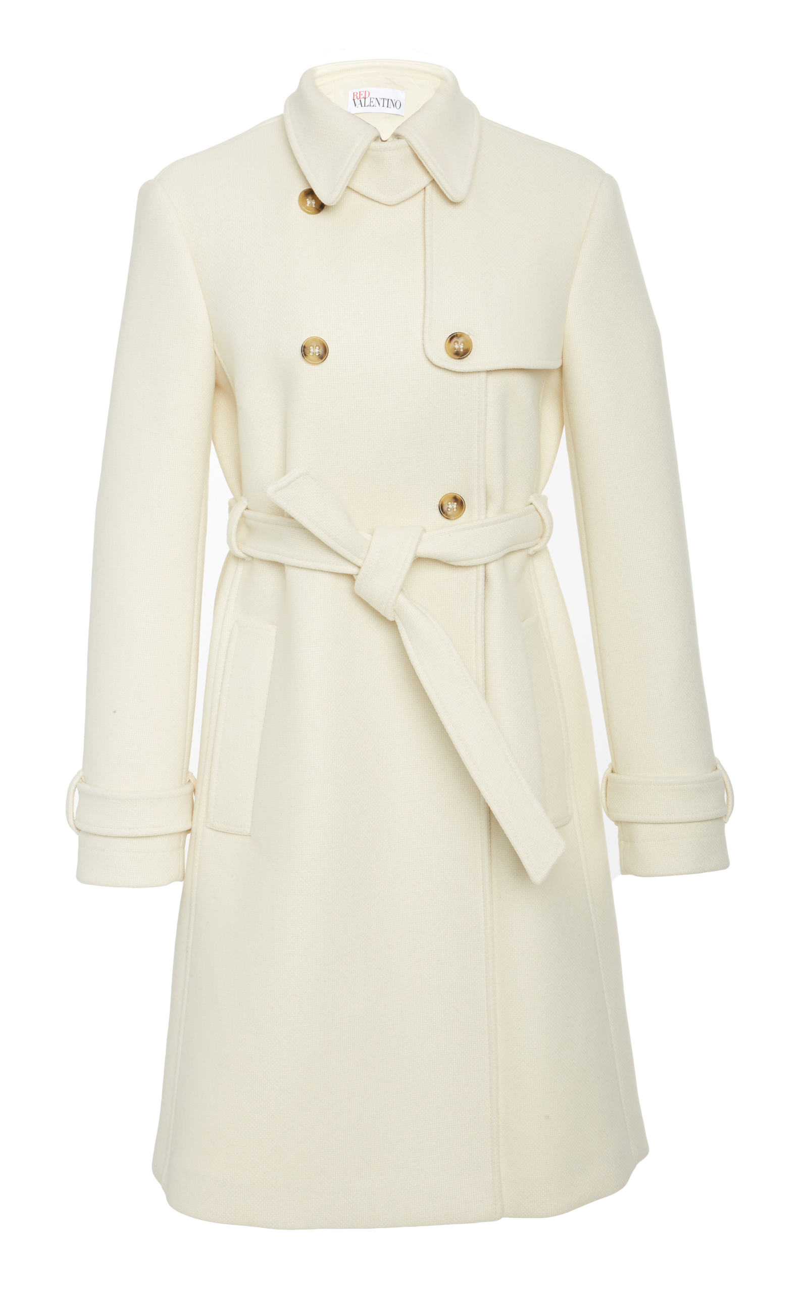 Redvalentino - Double Breasted Belted Wool Coat - Womens - Ivory, White