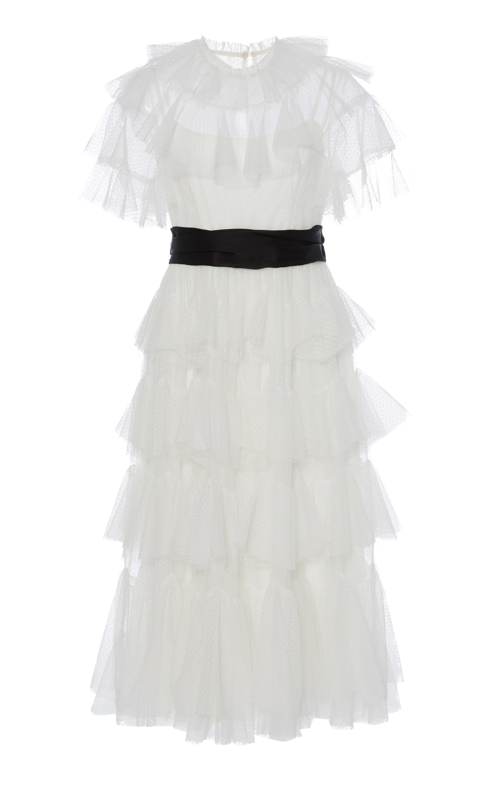 Belted Scallop Tiered Ruffle Midi Dress, White