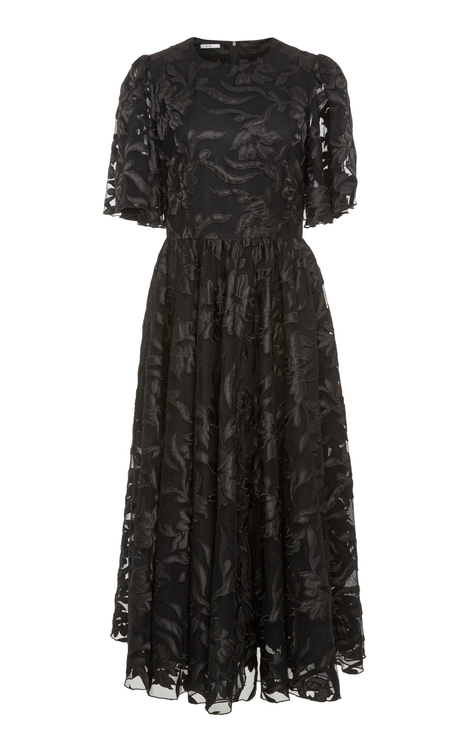 Flutter Sleeve Floral Applique Midi Dress in Black