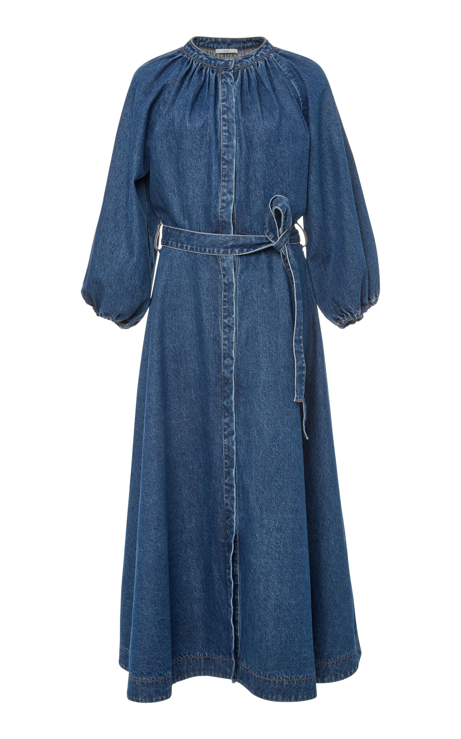 Split-Neck Blouson-Sleeve Denim Midi Dress W/ Self Belt in Mid Denim