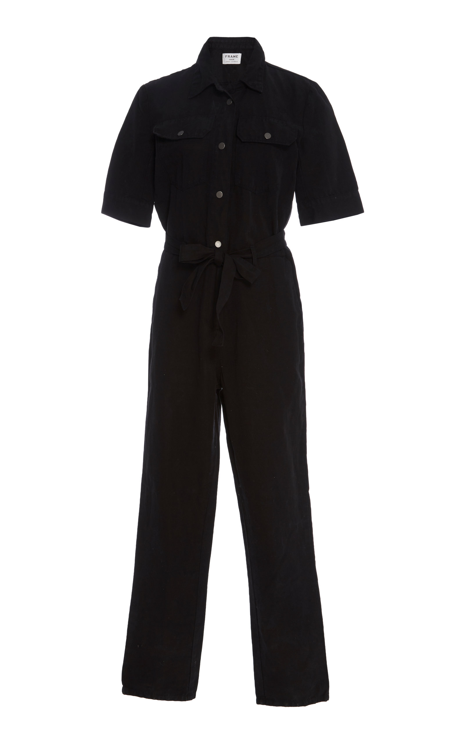 Short-Sleeve Button-Down Belted Straight-Leg Cotton-Linen Jumpsuit in Black