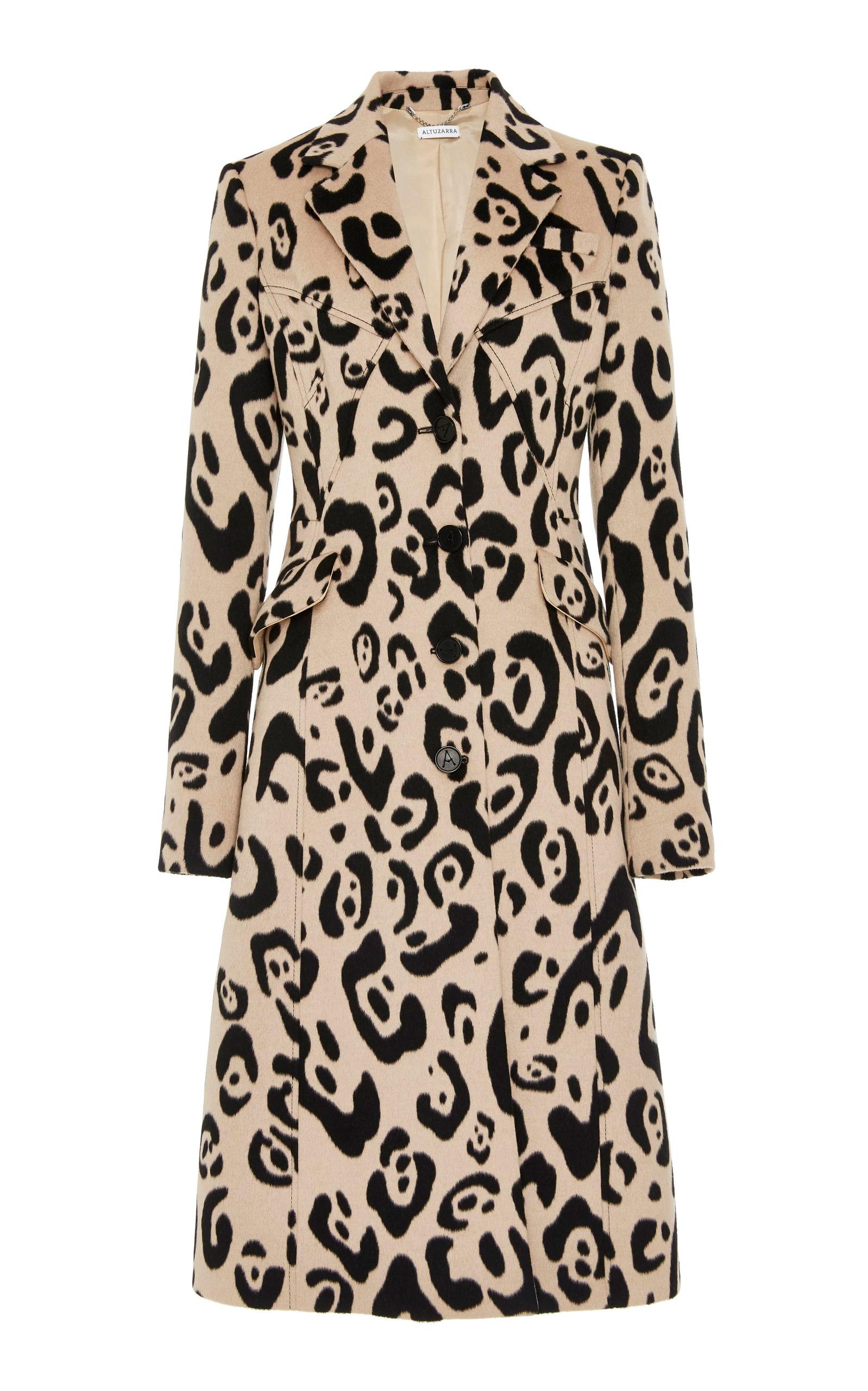 Driss Leopard-Print Wool-Blend Coat in Brown