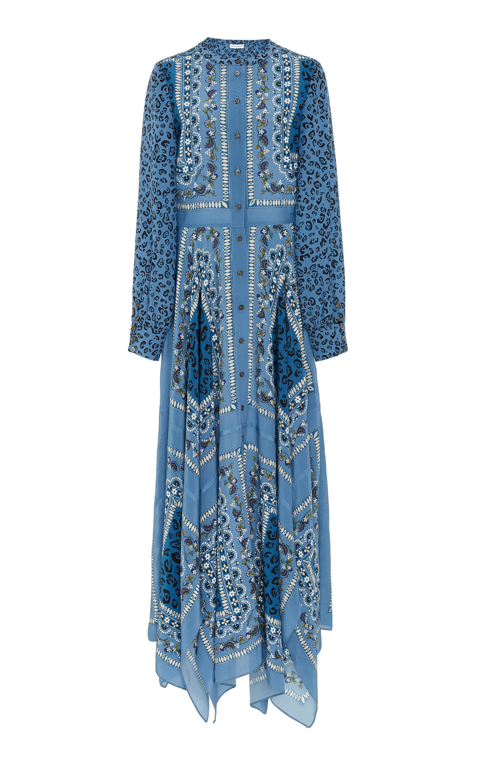Tamourine Printed Silk Crepe De Chine Maxi Dress, Blue