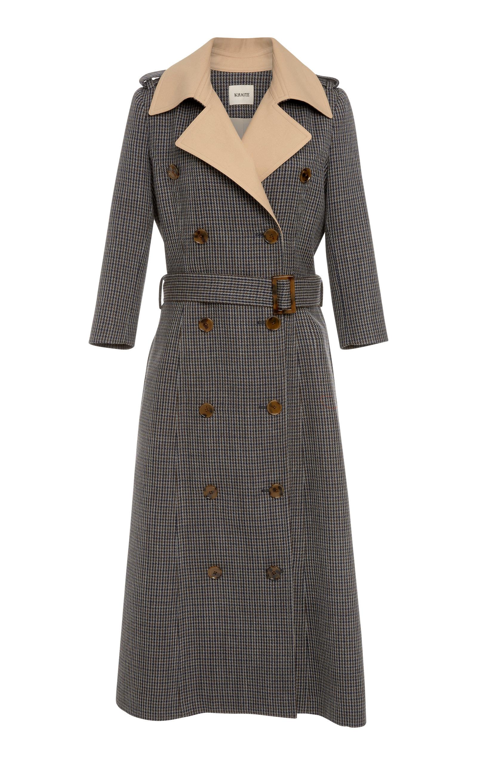 KHAITE Charlotte Houndstooth Wool-Tweed Trench Coat in Brown