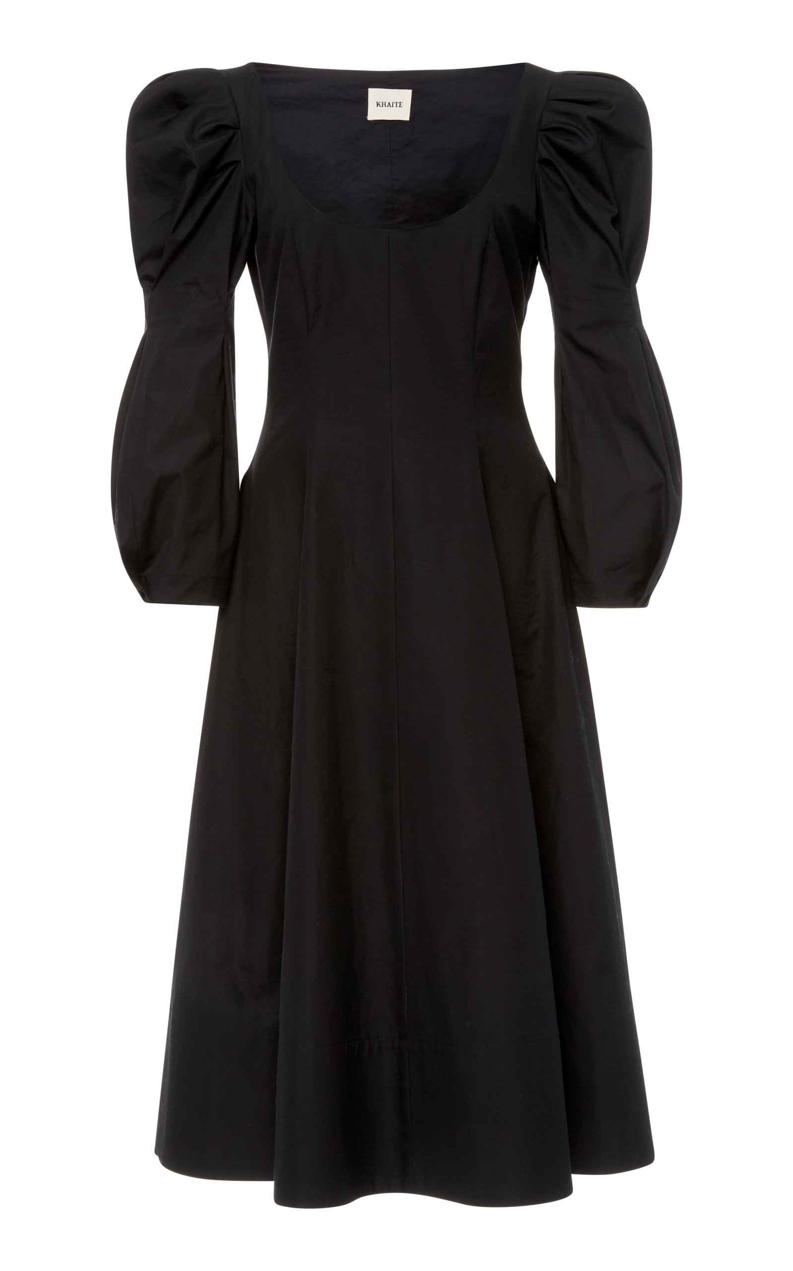 EDWINA BLACK COTTON POPLIN DRESS