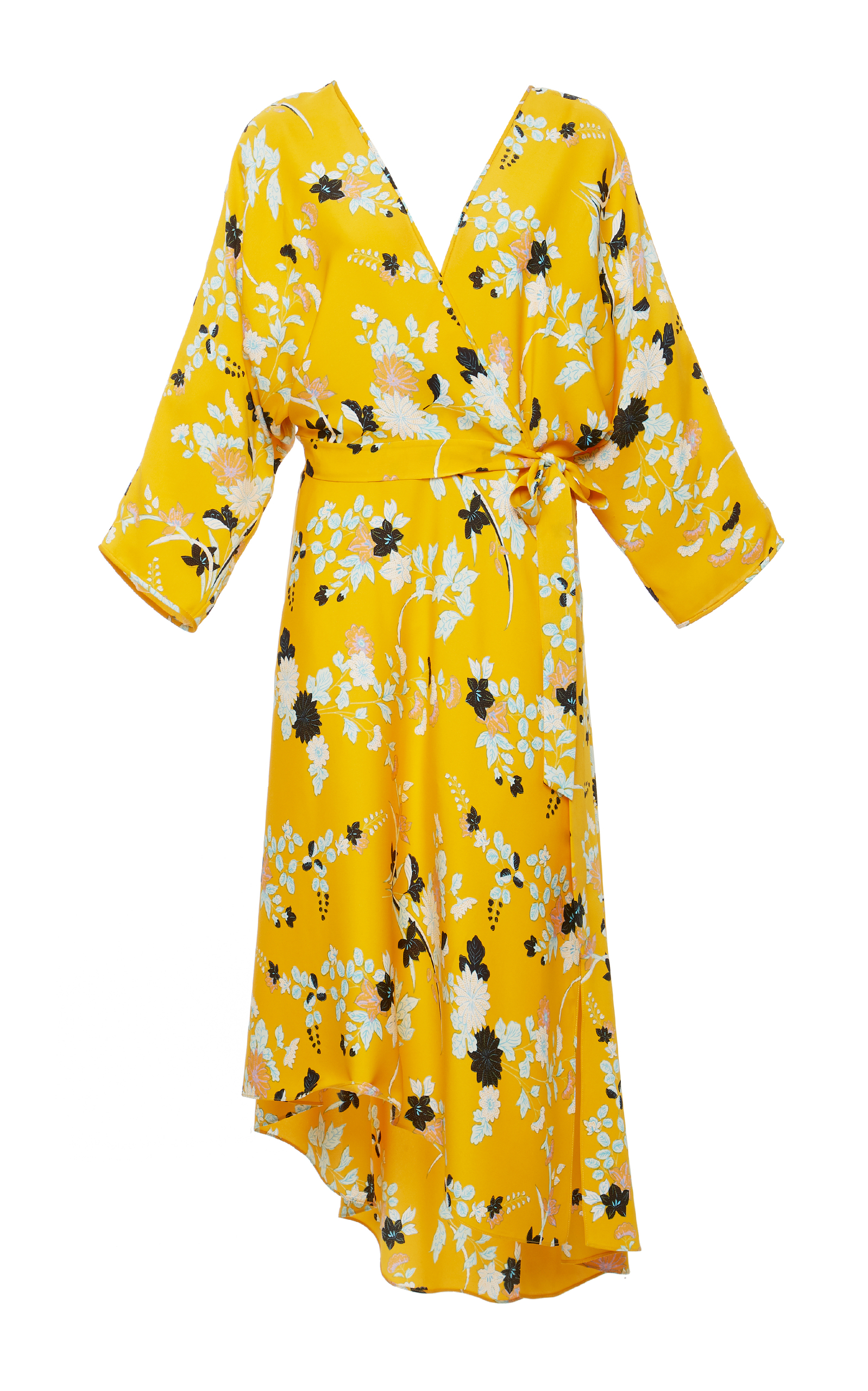 Long-Sleeve Asymmetric-Hem Floral-Print Silk Wrap Dress, Yellow
