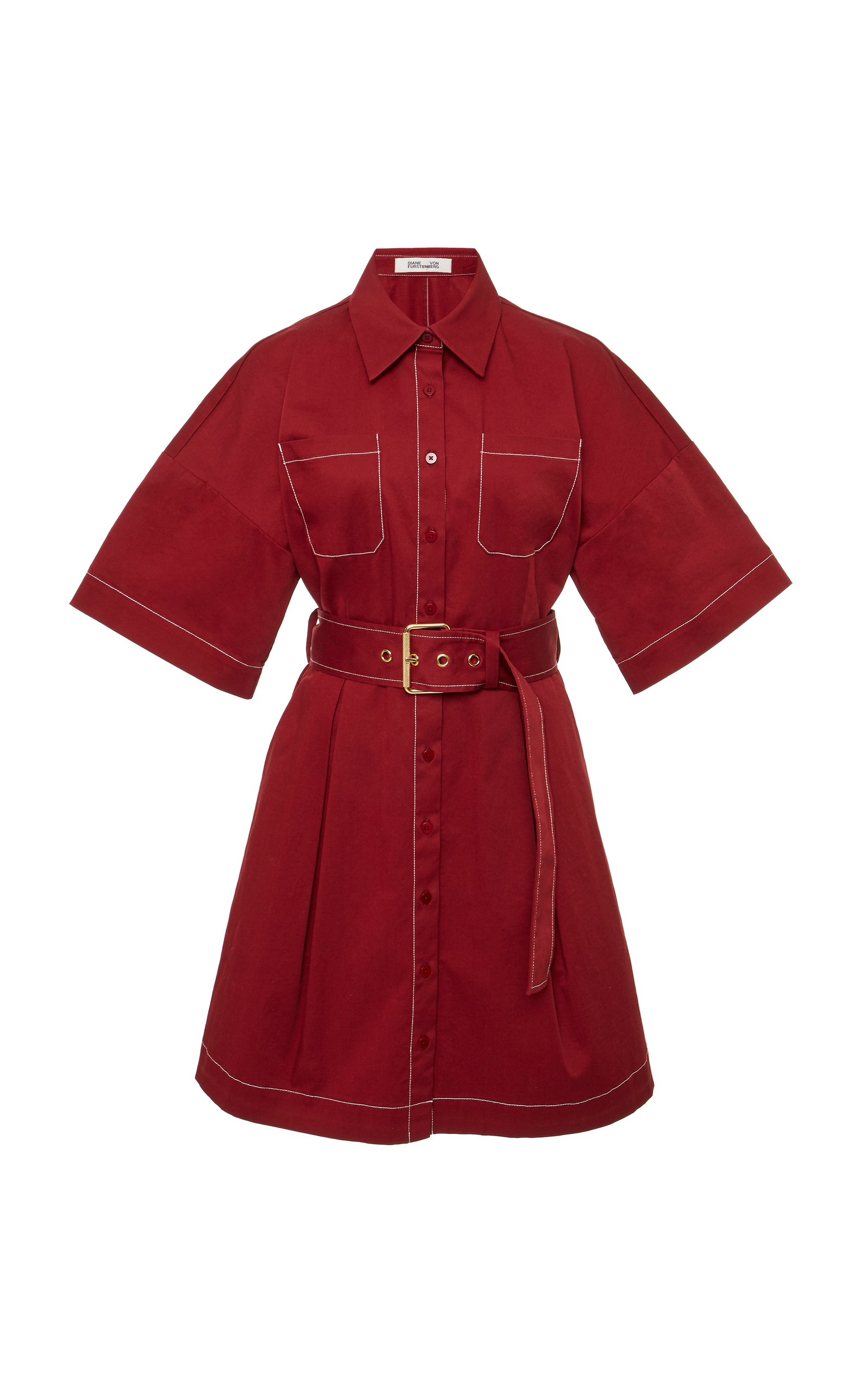 Short Sleeve Button Up Belted Shirt Dress in Red