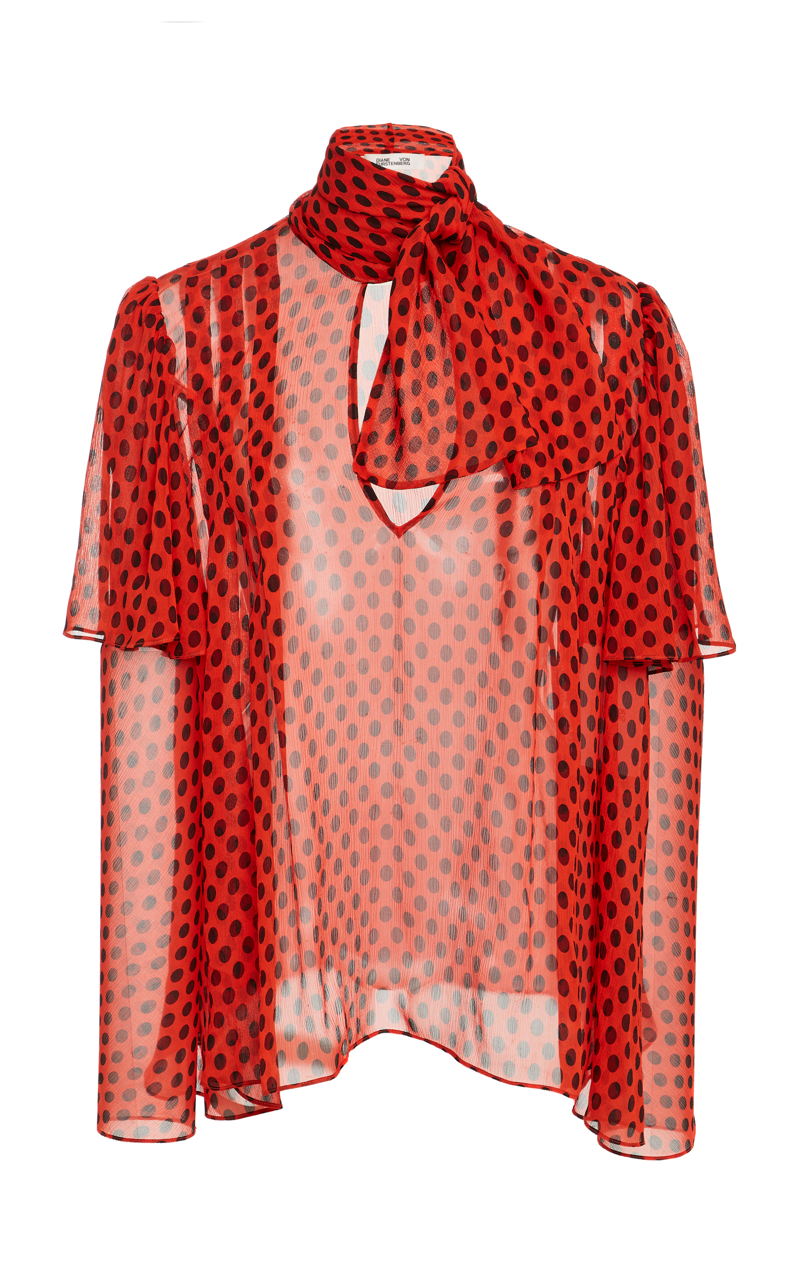 Pussy-Bow Polka-Dot Crinkled Silk-Chiffon Blouse, Red