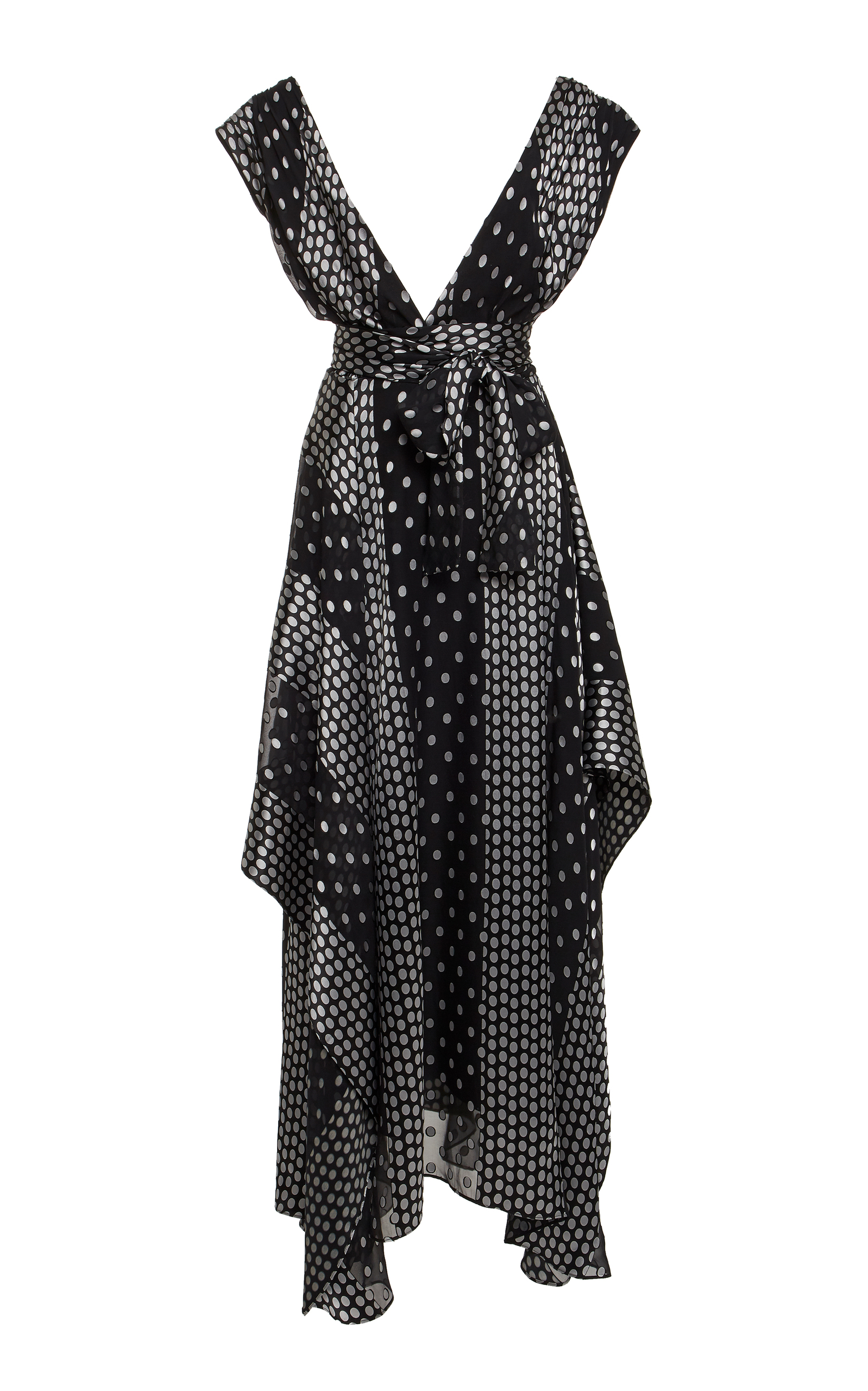 Draped Polka-Dot Silk-Blend Chiffon Maxi Dress, Print