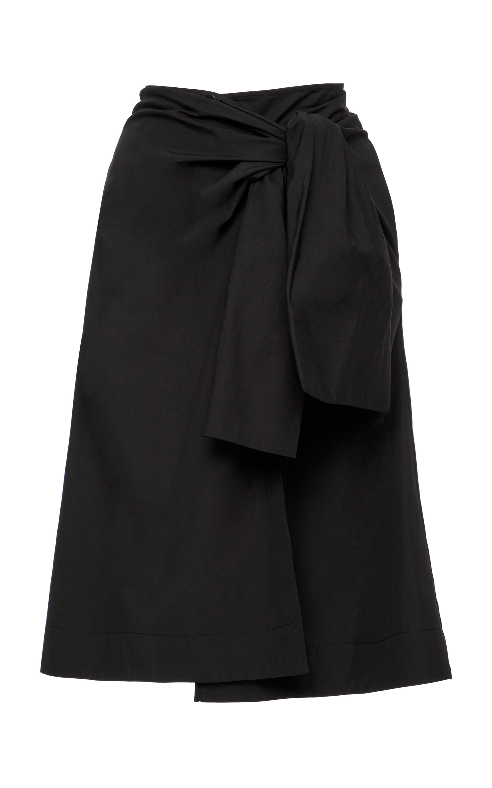 Waist Tie Front Slit Solid Skirt in Black