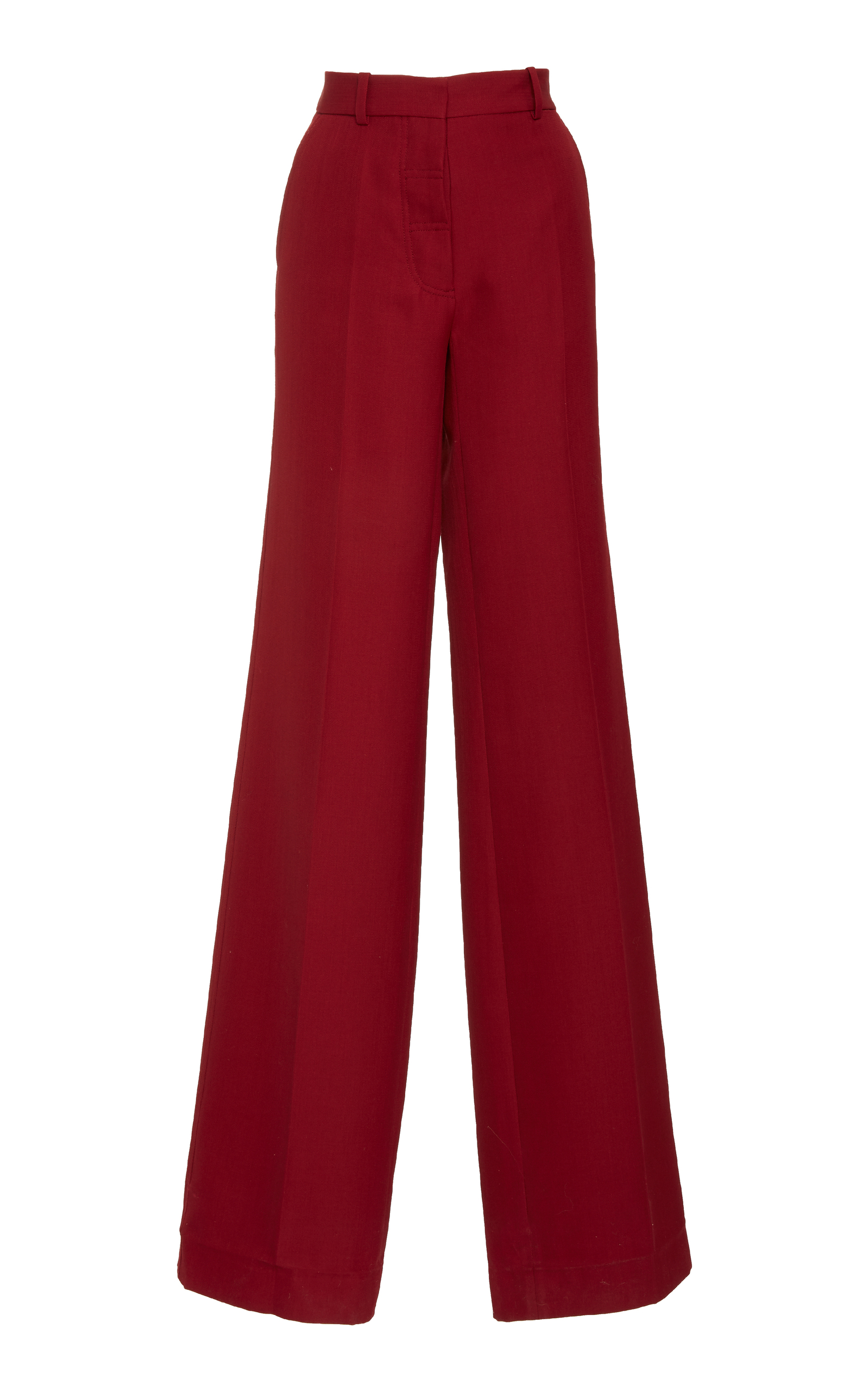Wide-Leg Trousers - Cherry Size 10 Uk in Burgundy