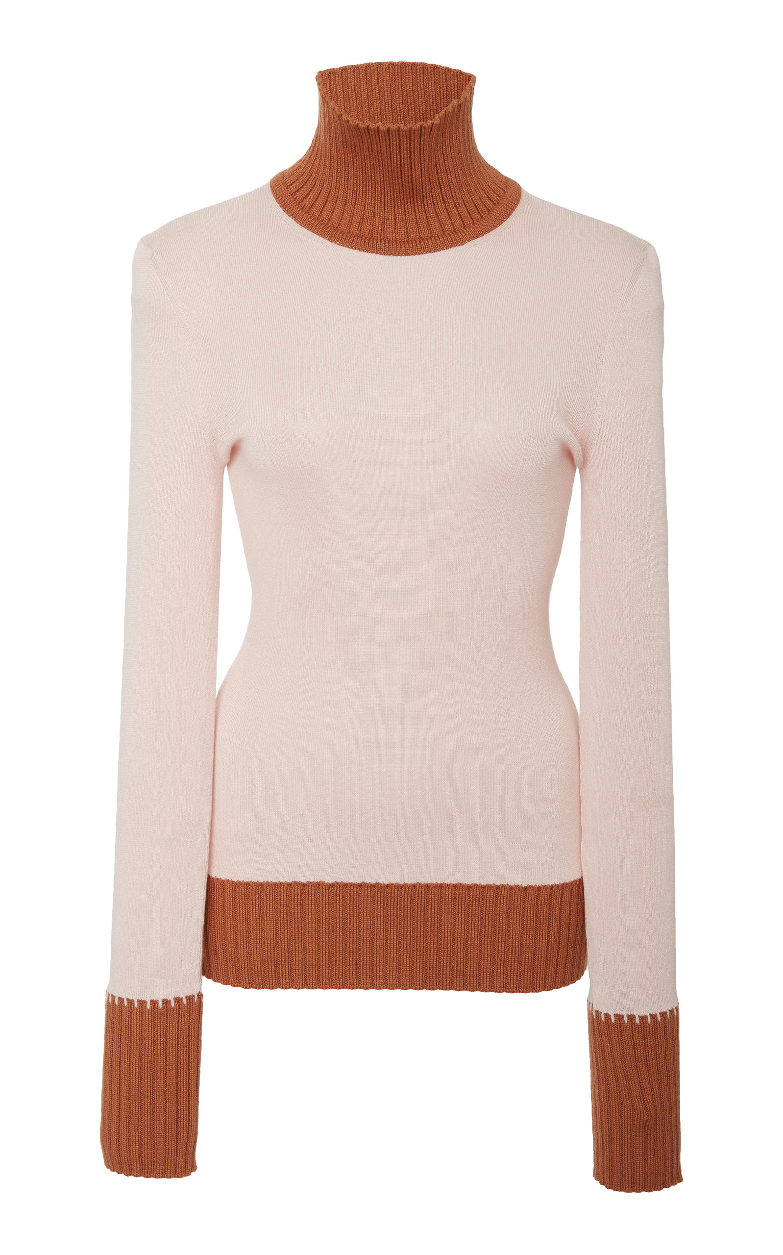 Two-Tone Ribbed Wool-Blend Turtleneck Sweater in Pink