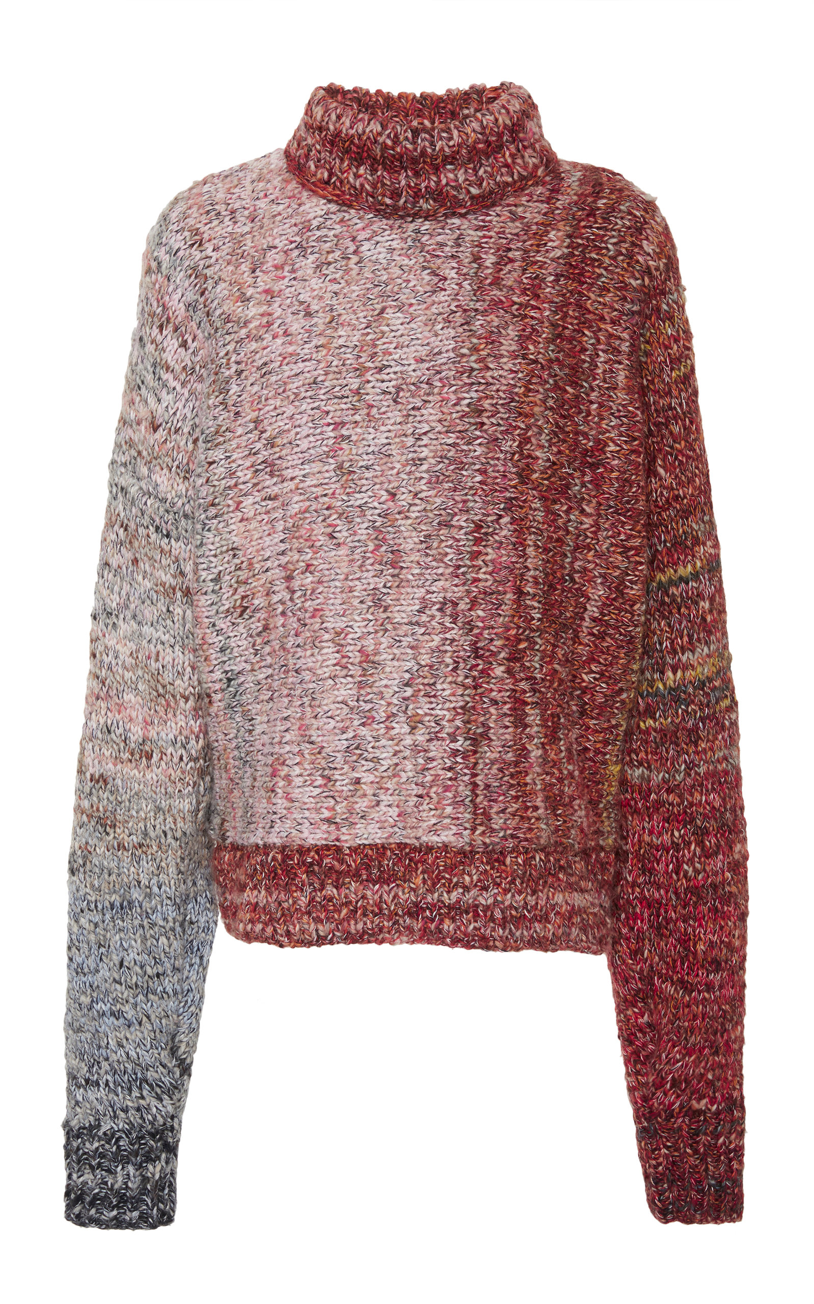 VICTORIA BECKHAM Ombré Wool-Blend Turtleneck Sweater - Multi Ombre Size 1 in Red