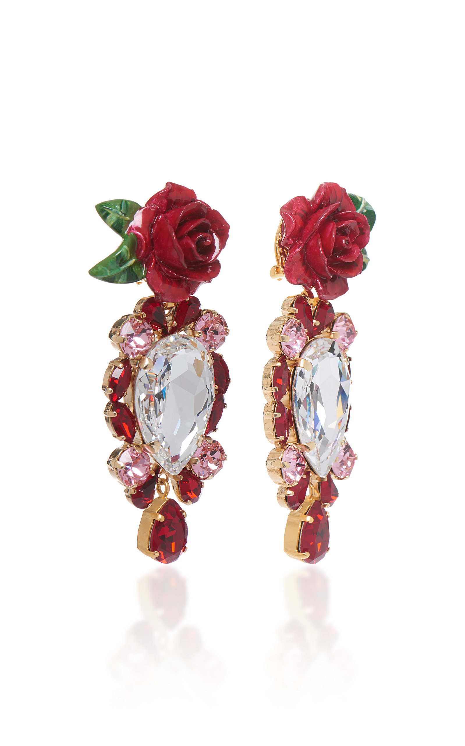 Rosetto Cameo Gold-Tone Brass and Crystal Earrings Dolce & Gabbana zlG1IvwH0e