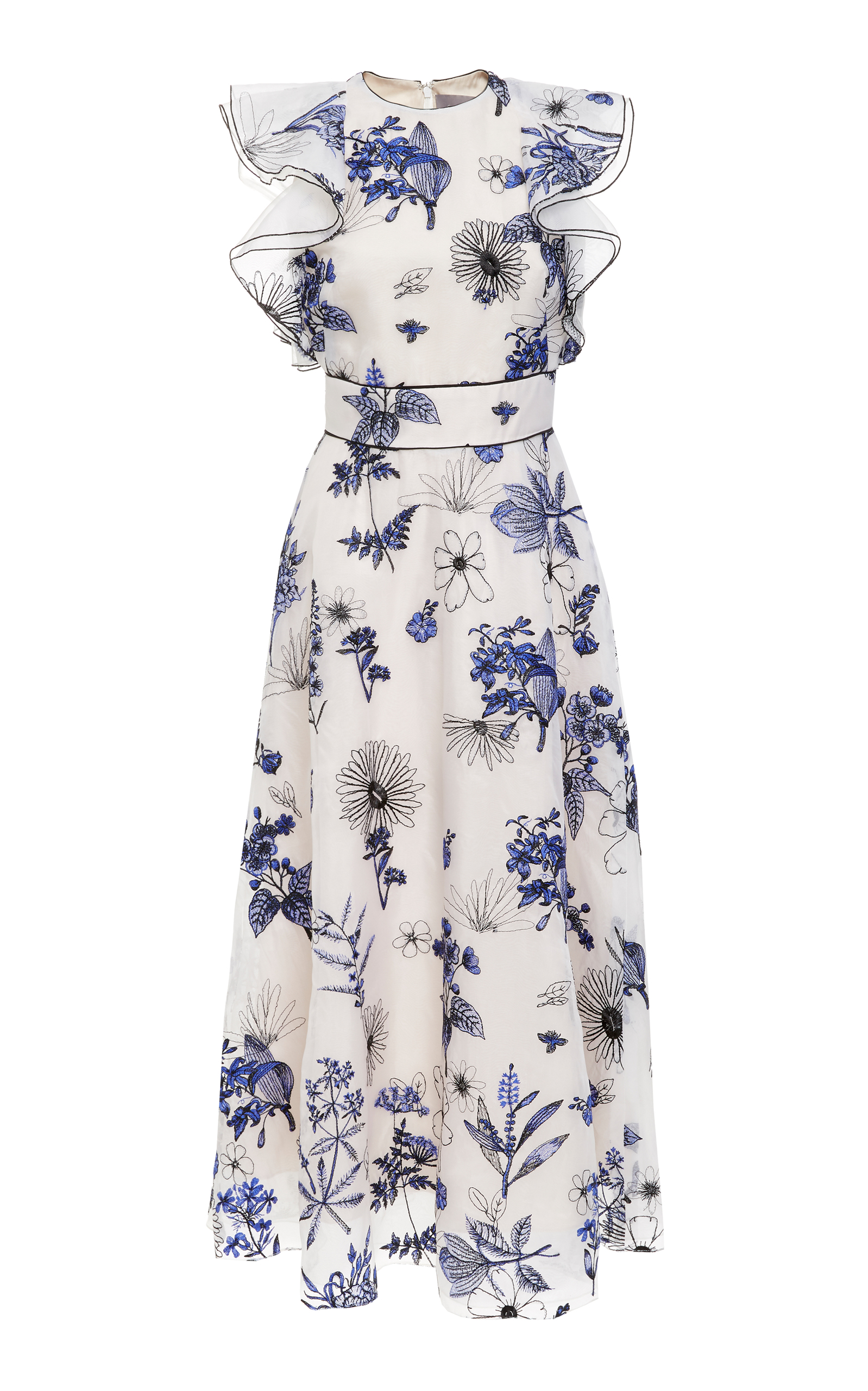 Sleeveless Floral-Embroidered Fit-And-Flare Tea-Length Dress in White