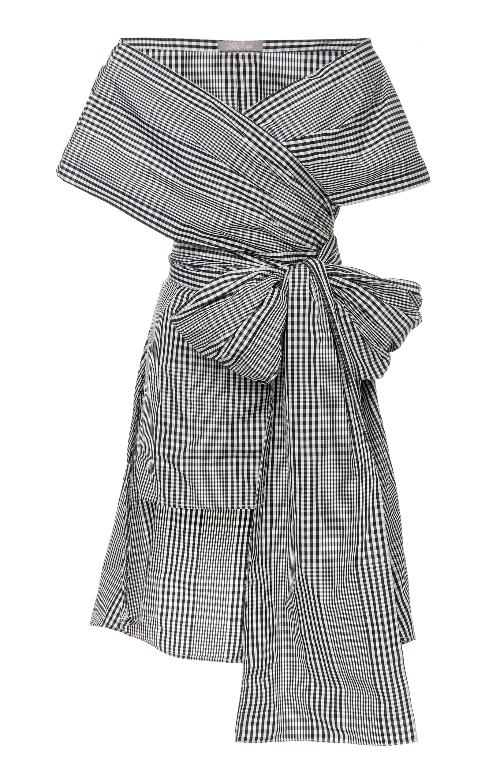 LELA ROSE Bow-Detailed Gingham Poplin Wrap Top in Black