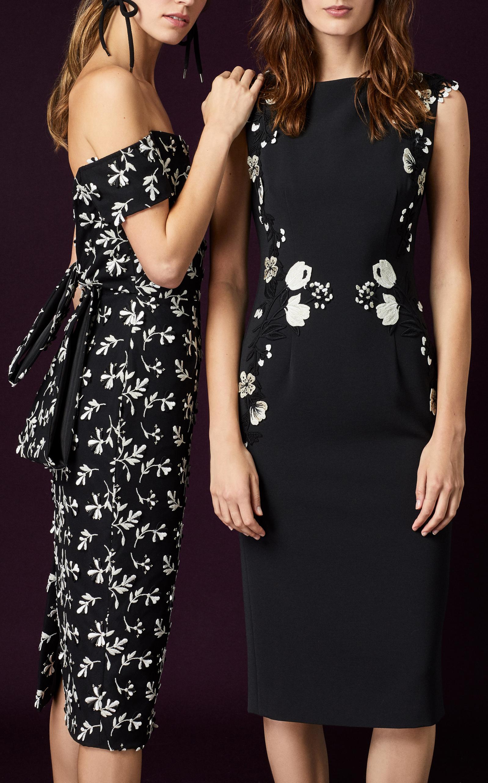 2f56a6b820fd Lela RoseOff-The-Shoulder Floral-Embroidered Crepe Dress. CLOSE. Loading.  Loading. Loading. Loading