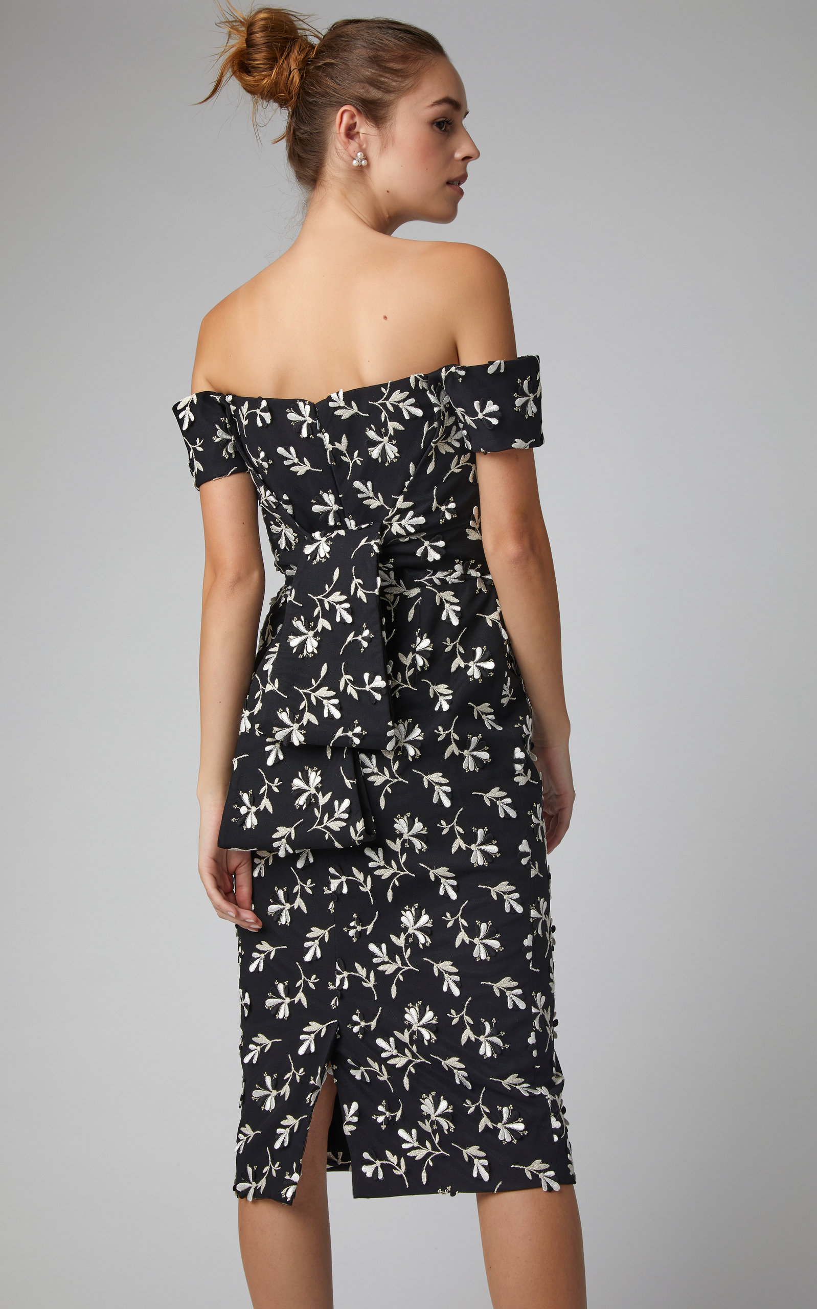 76df124b5f3e Lela RoseOff-The-Shoulder Floral-Embroidered Crepe Dress. CLOSE. Loading