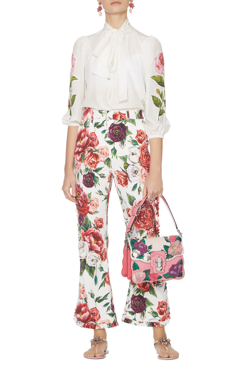 Sale Genuine Peony-Print High-Rise Flared Pants Dolce & Gabbana Cheap Sale Newest 100% Original Online Discount Low Price Recommend Cheap Price HSqe5