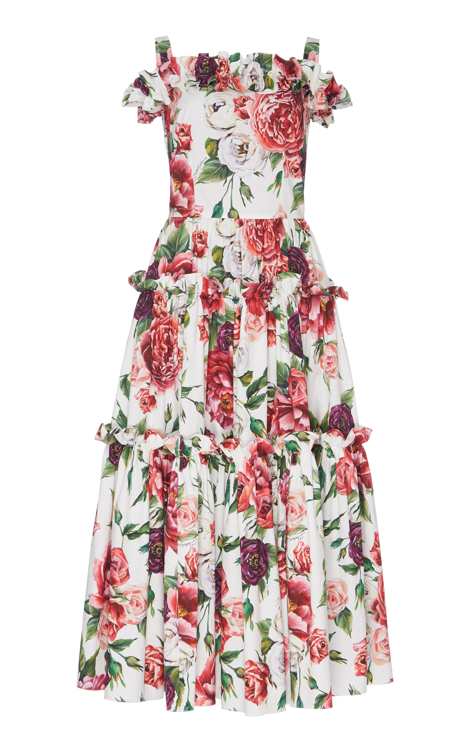 918e054193e88 Off-The-Shoulder Peony-Print Midi Dress by Dolce   Gabbana