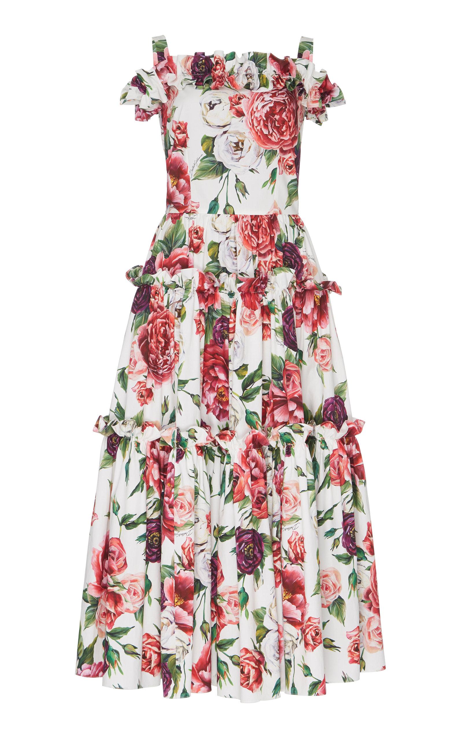 de09688456a Off-The-Shoulder Peony-Print Midi Dress by Dolce & Gabbana   Moda ...