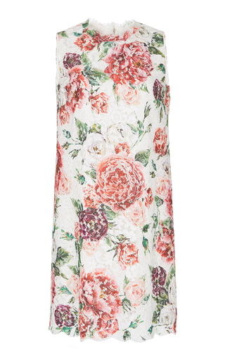 DOLCE & GABBANA | Dolce & Gabbana Peony-Print Lace Shift Dress | Goxip