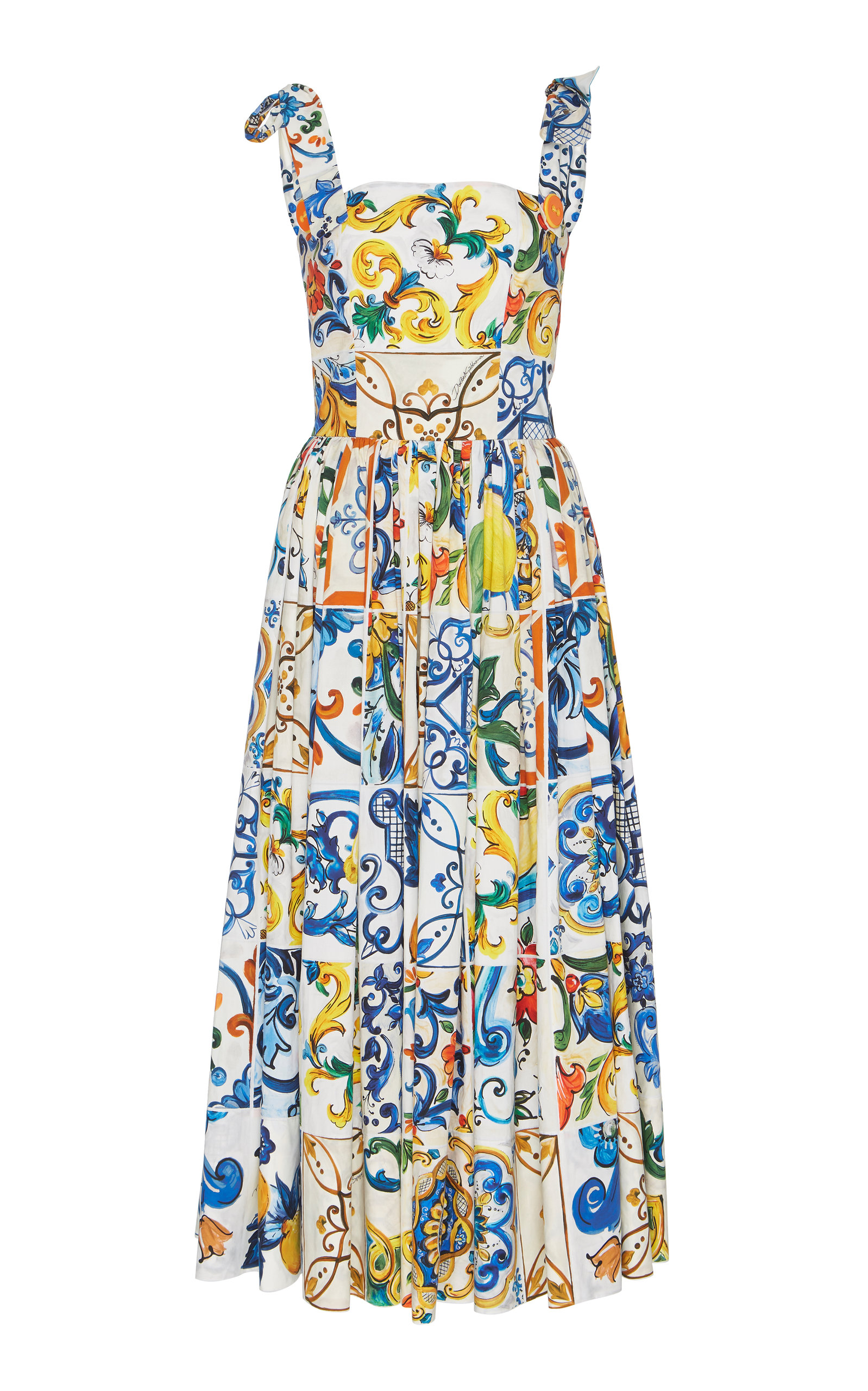 Sleeveless Tile-Print Fit-And-Flare Long Dress W/ Ties in White Print