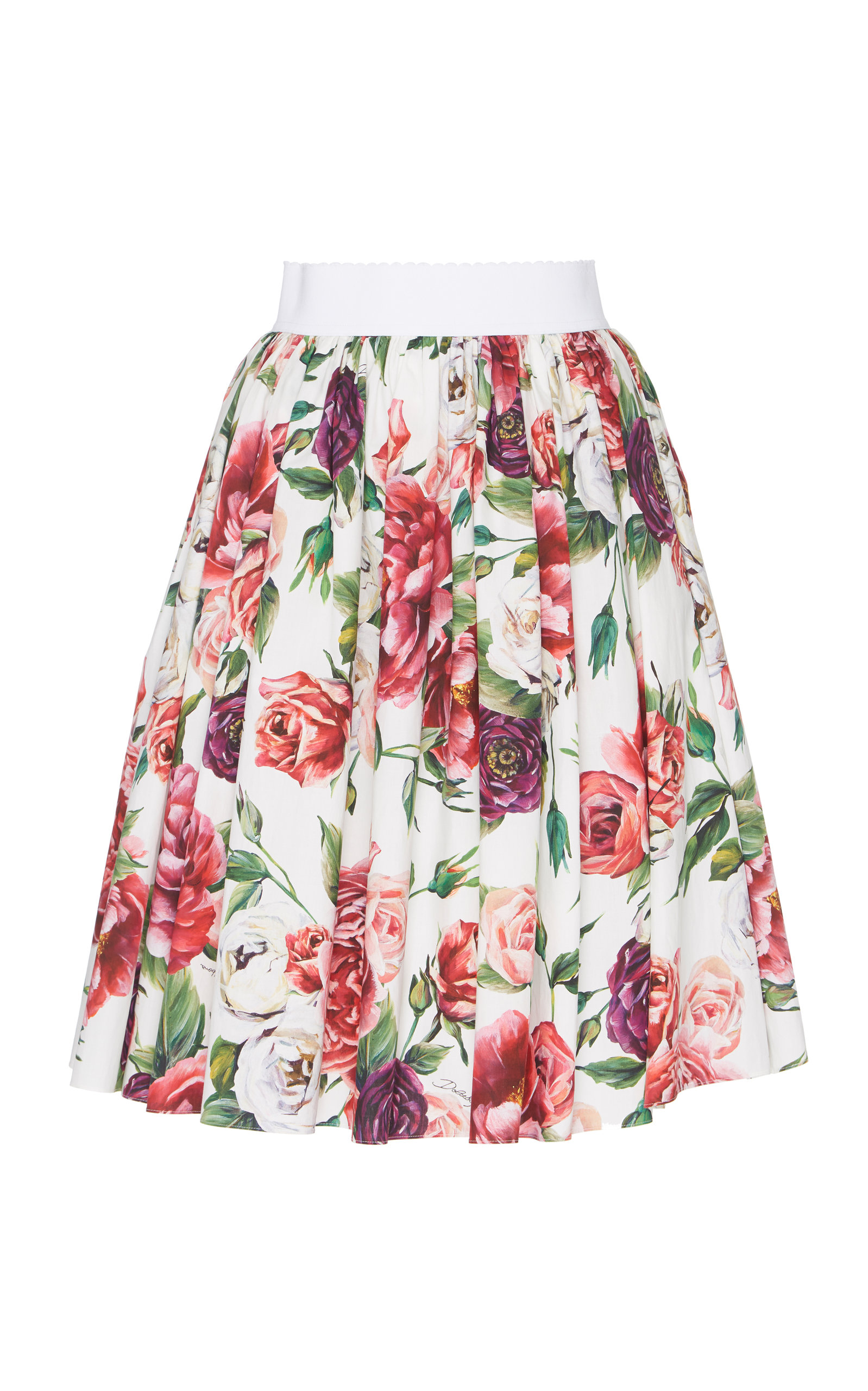 Dolce And Gabbana Multicolor Floral Peonies Miniskirt in Pink