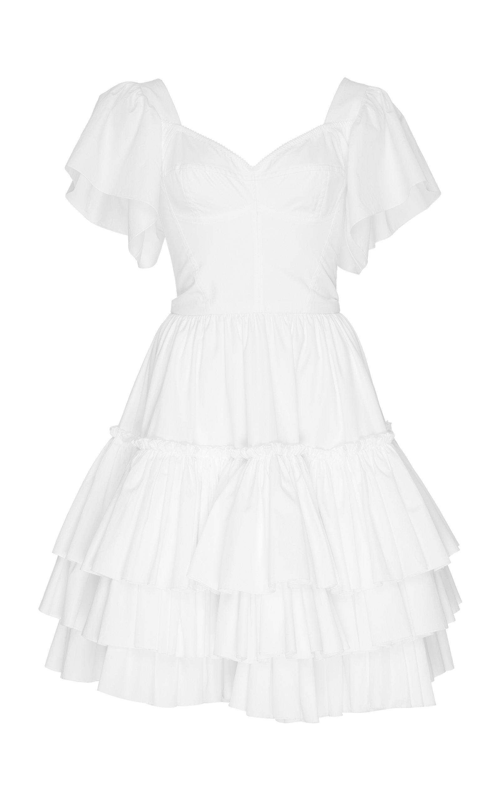 Tiered-Ruffle Cotton-Poplin Mini Dress in White
