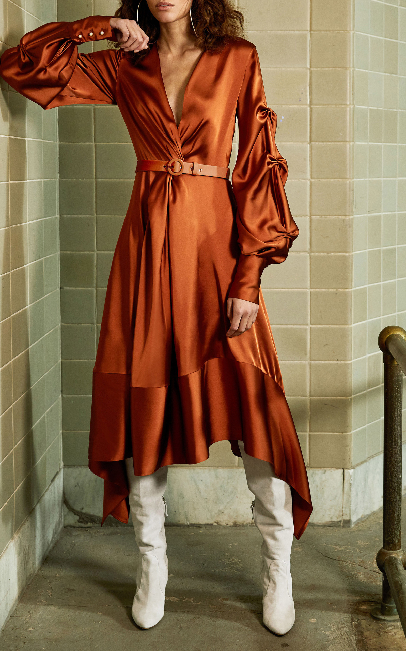 Fluid Satin Keyhole Midi Dress Jonathan Simkhai wrXDDSh