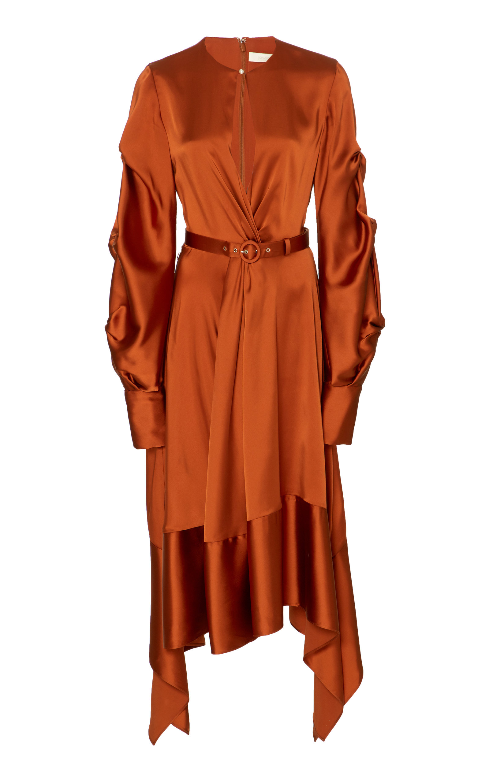 Fluid Satin Keyhole Asymmetric Midi Dress, Orange