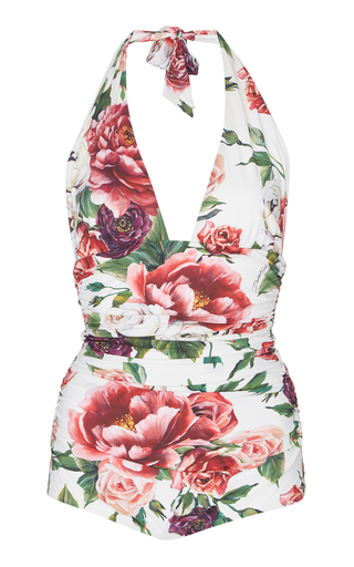DOLCE & GABBANA | Dolce & Gabbana Floral Deep V One-Piece Swimsuit | Goxip