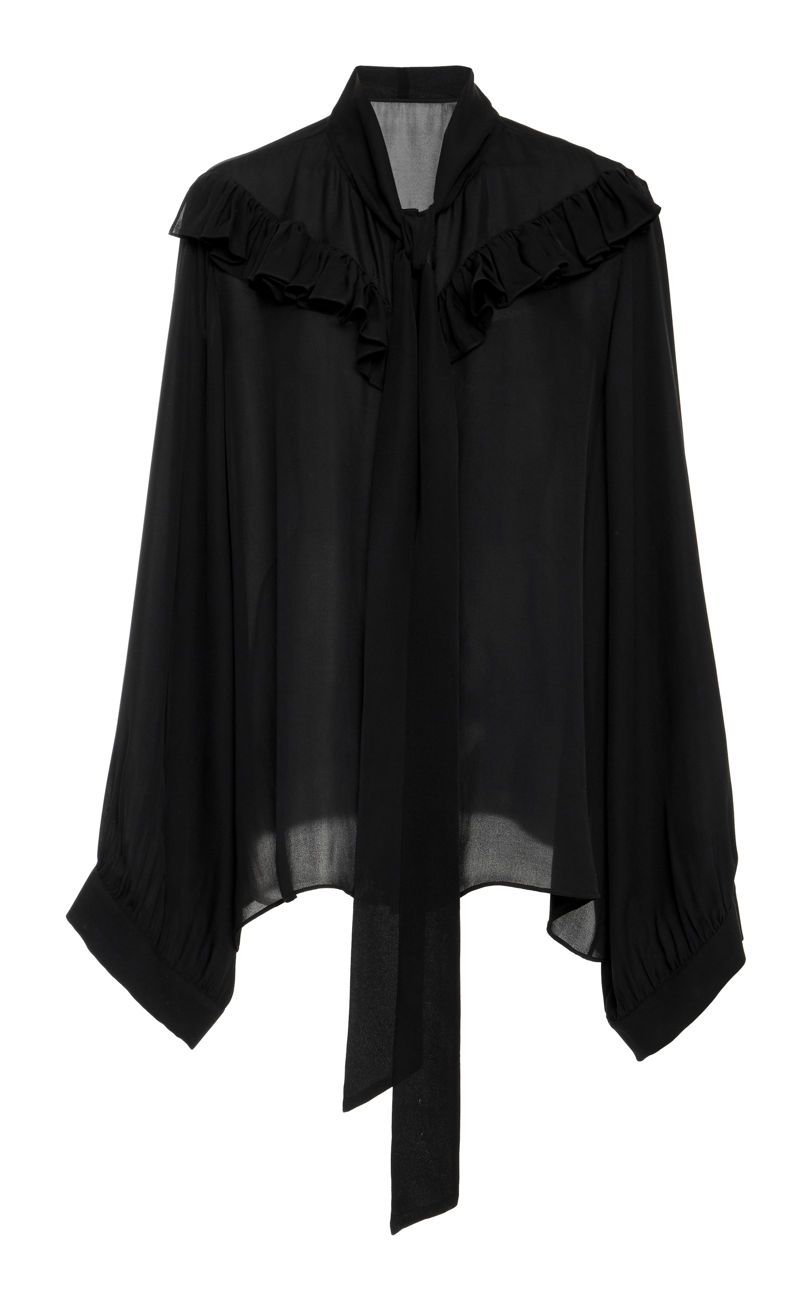Vanna Silk Gorgette Blouse in Black