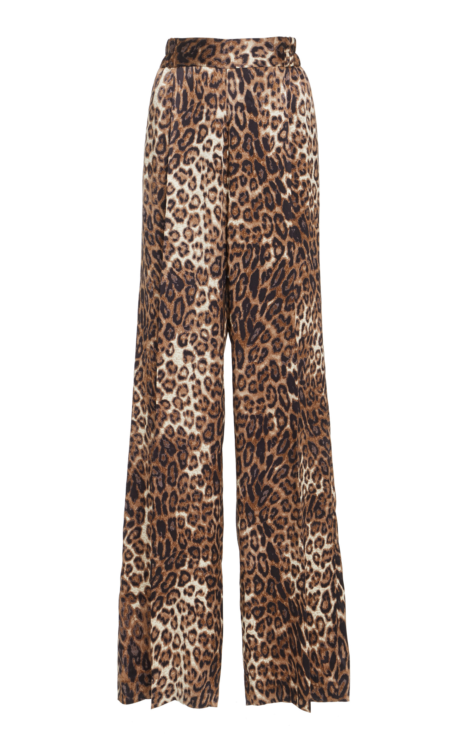 Vivianna Leopard-Print Silk-Satin Wide-Leg Pants, Animal