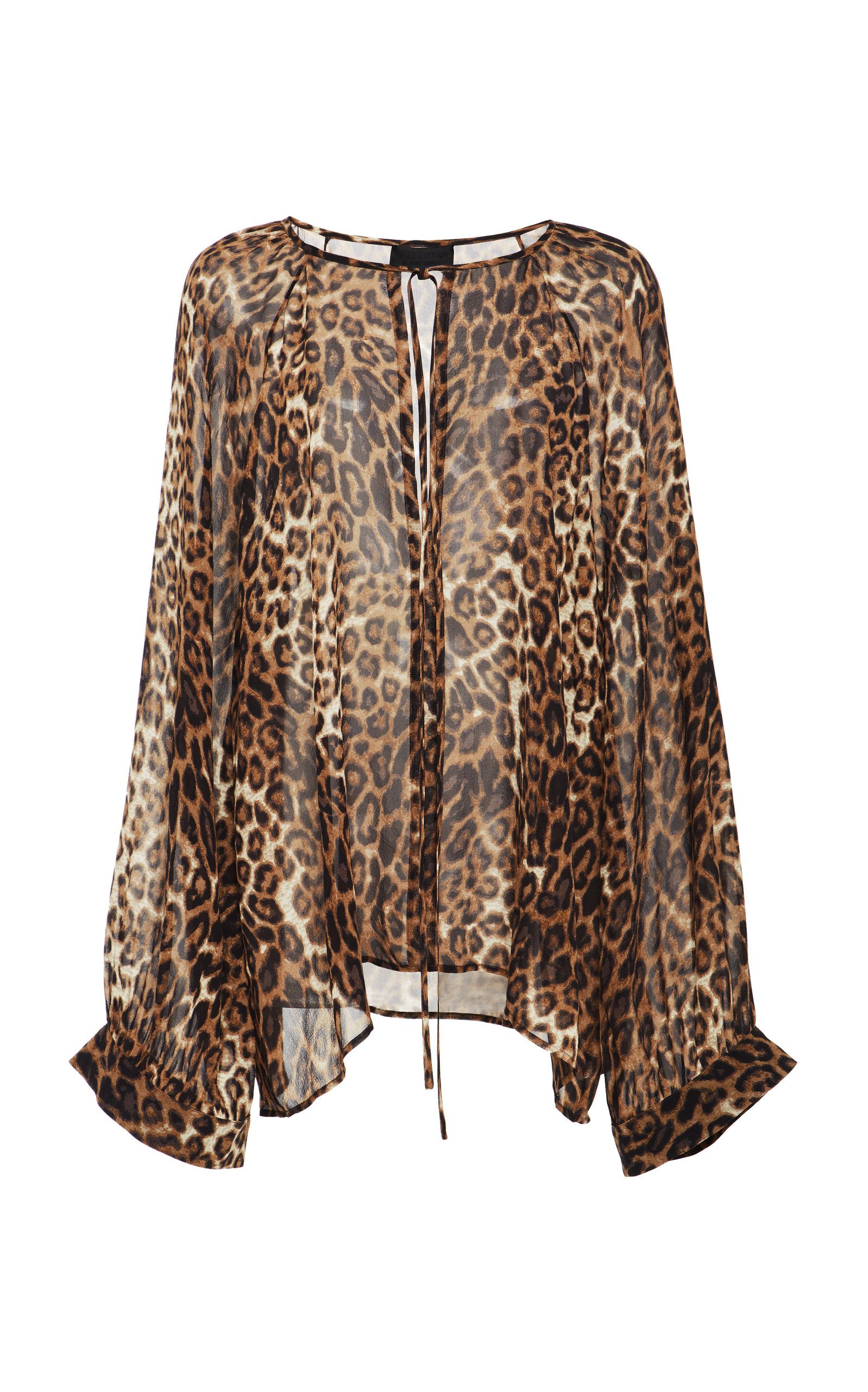 Acadia Leopard-Print Silk-Chiffon Blouse, Animal