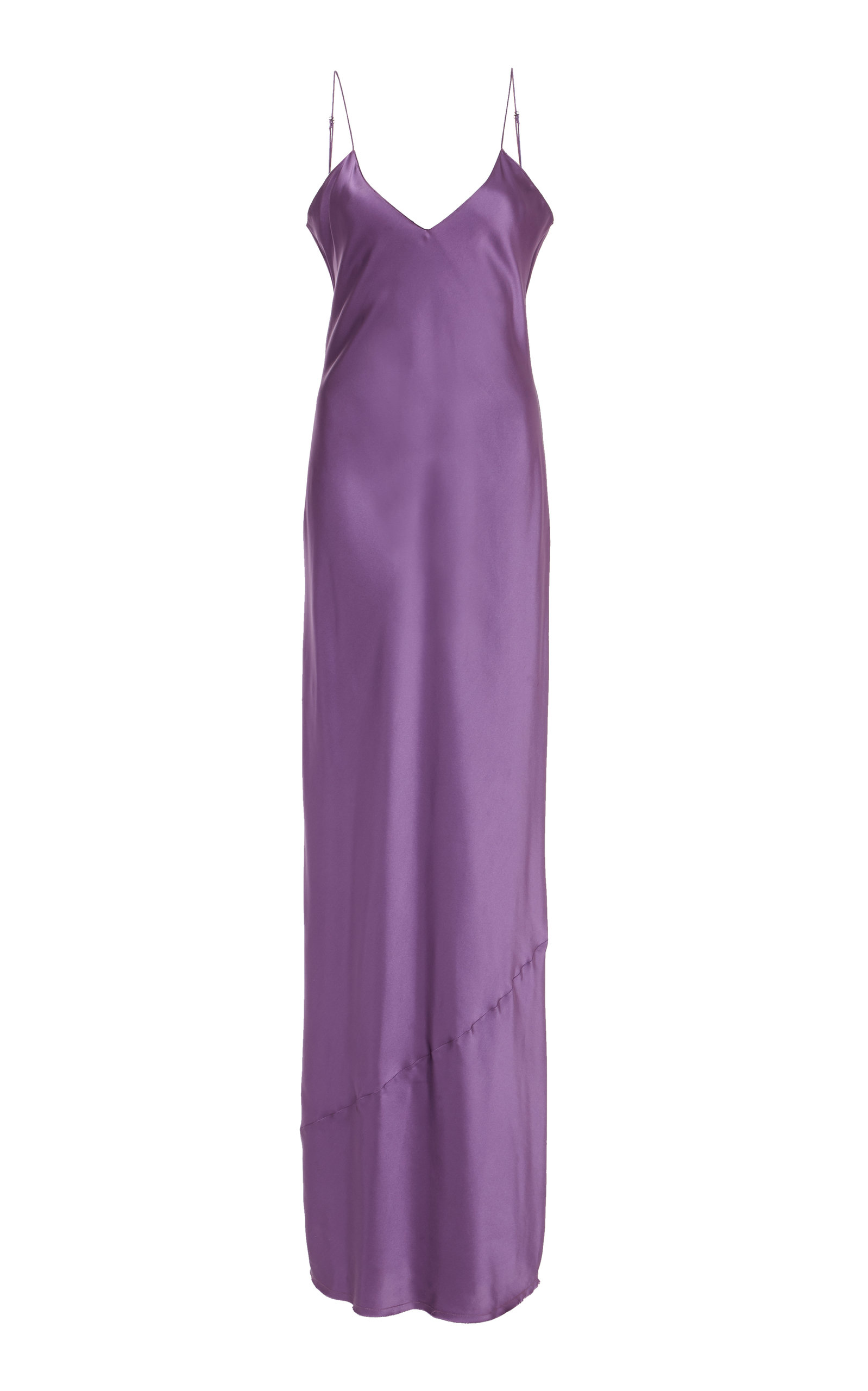 Cami Silk-Charmeuse Slip Gown, Purple