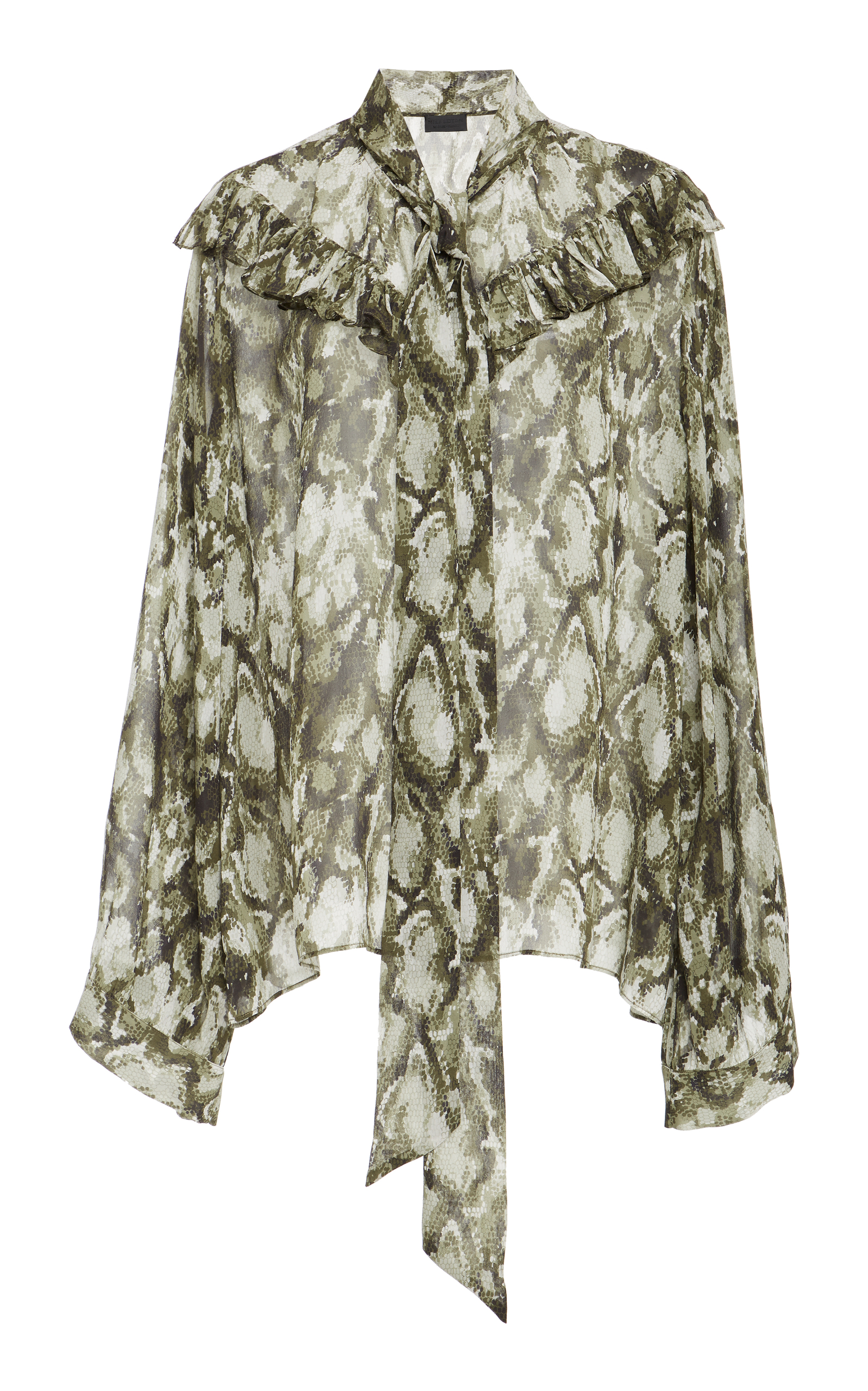 Vanna Printed Silk Chiffon Blouse, Green