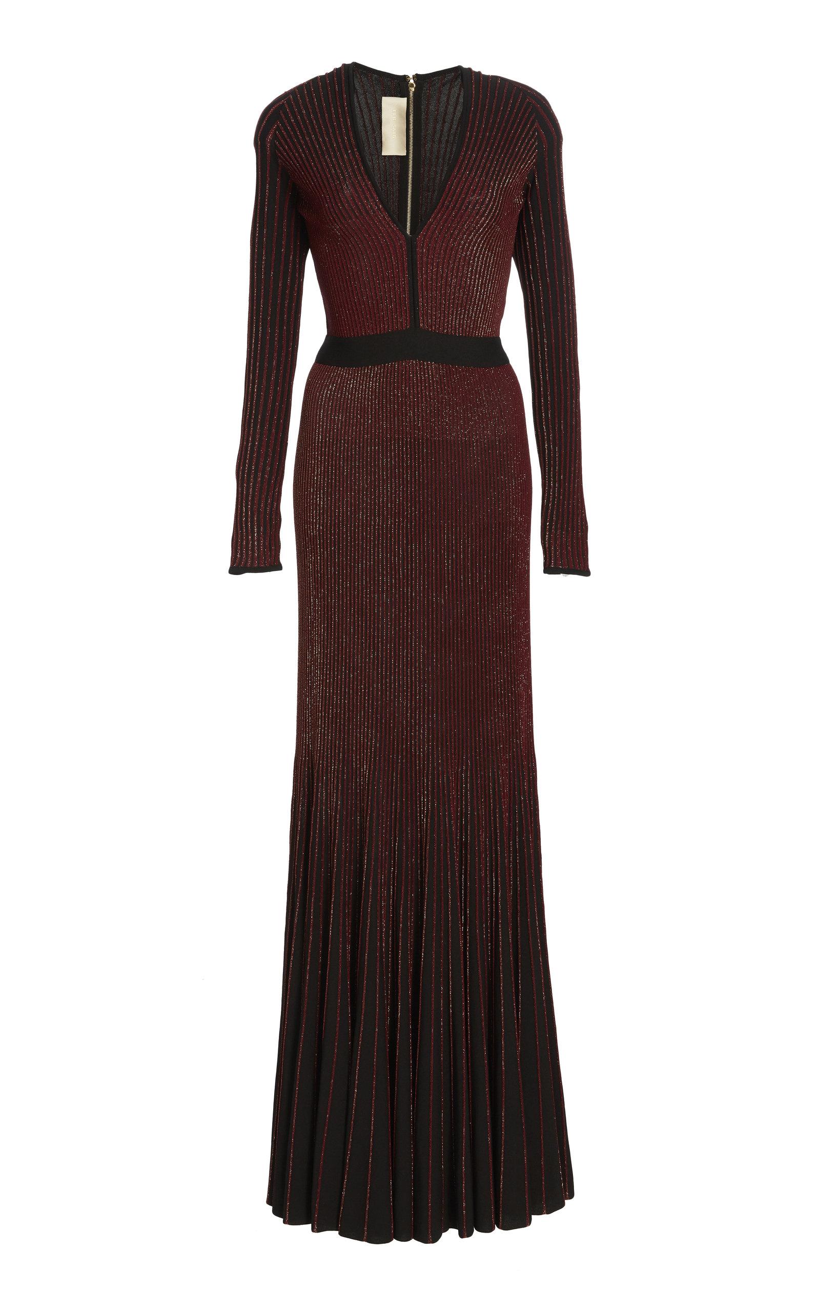 ELIE SAAB V-Neck Long-Sleeve Embellished Mermaid Evening Gown in Burgundy