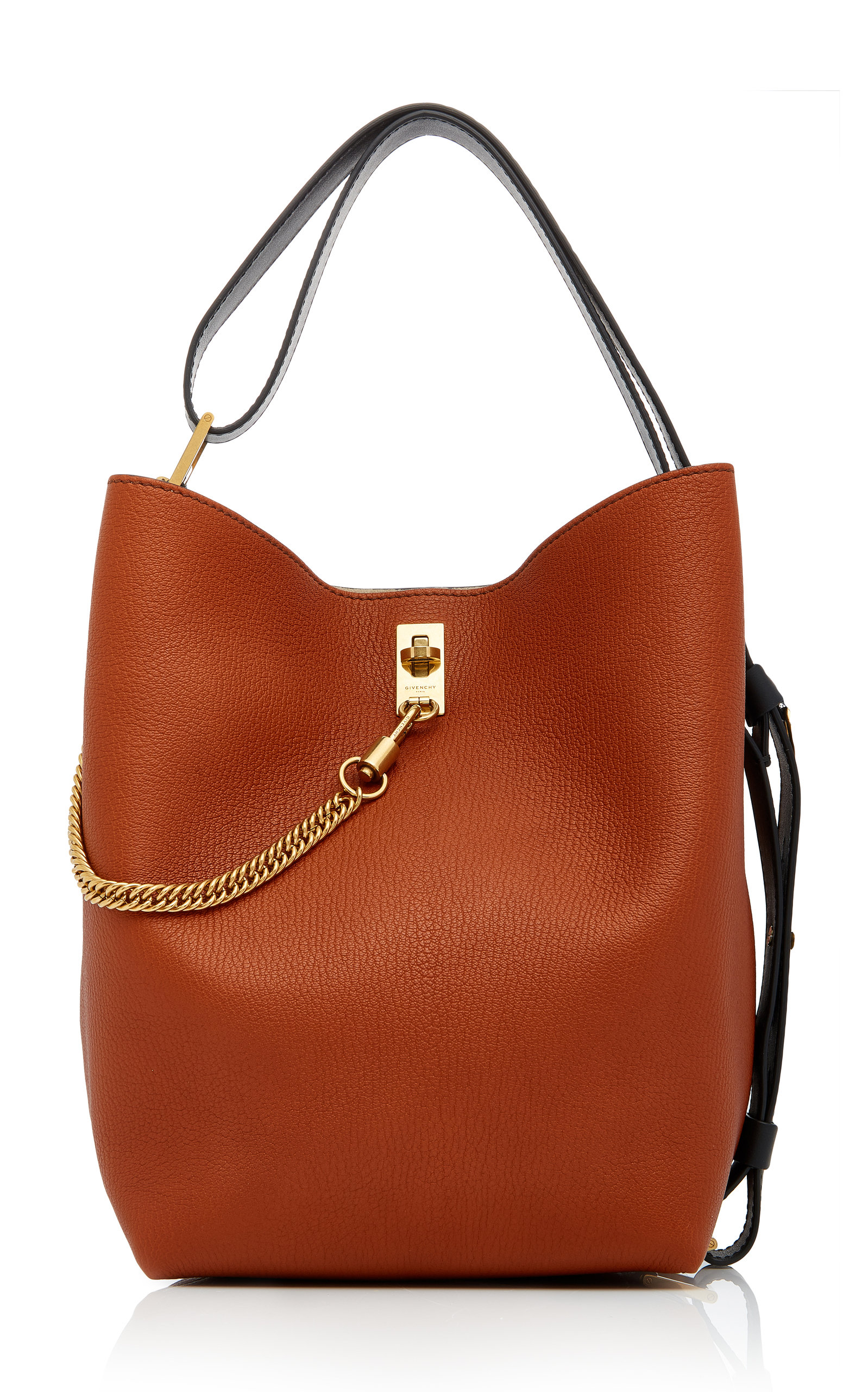 Gv Medium Chain-Trimmed Leather Tote in Brown