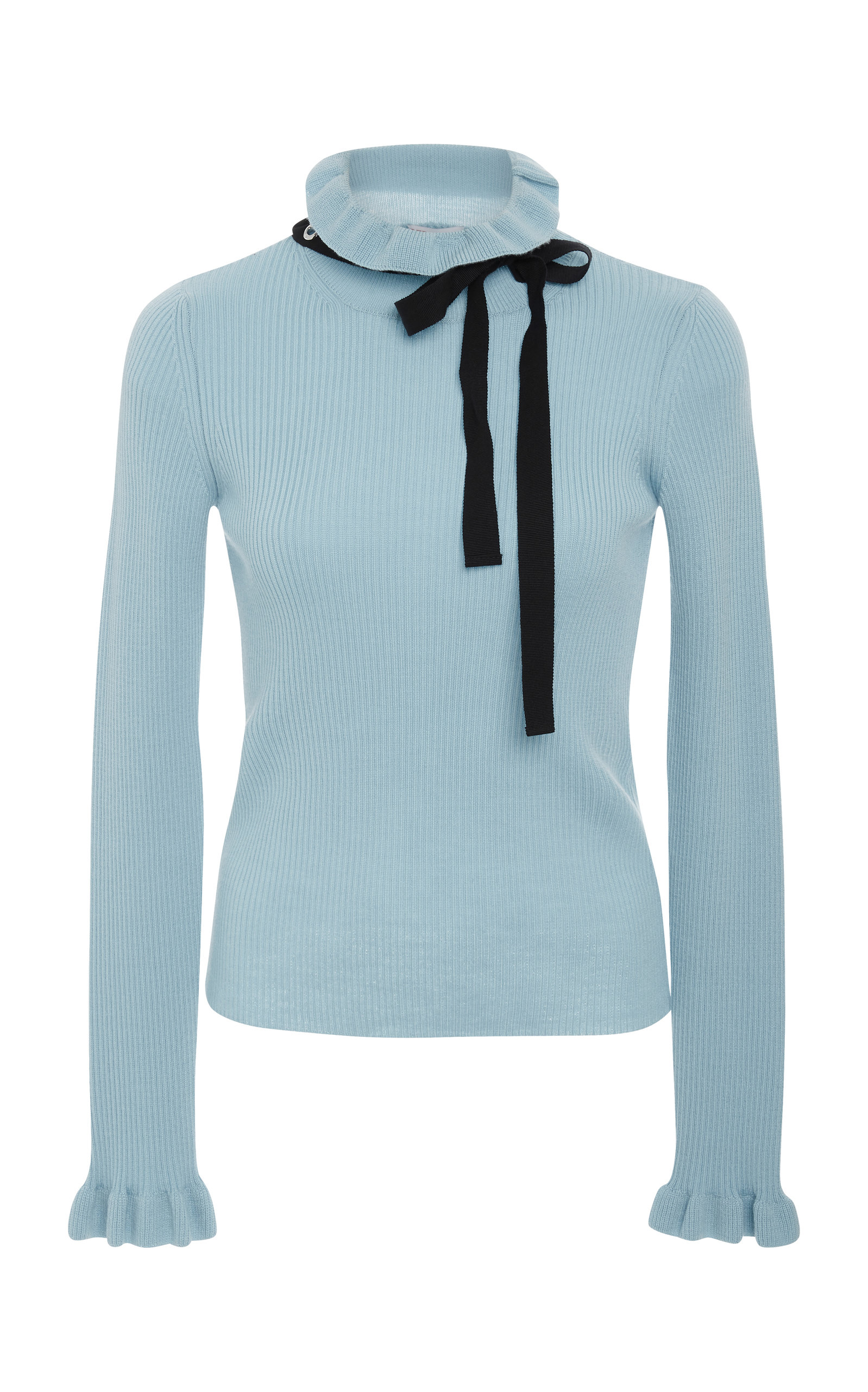 RED VALENTINO Grosgrain-Trimmed Wool Sweater, Blue